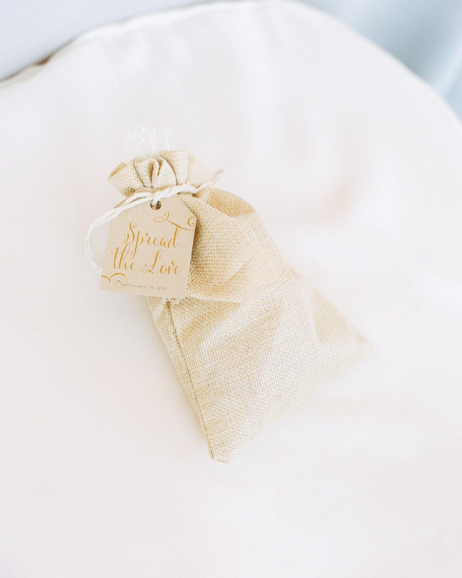 jill phil wedding favors in small burlap bag