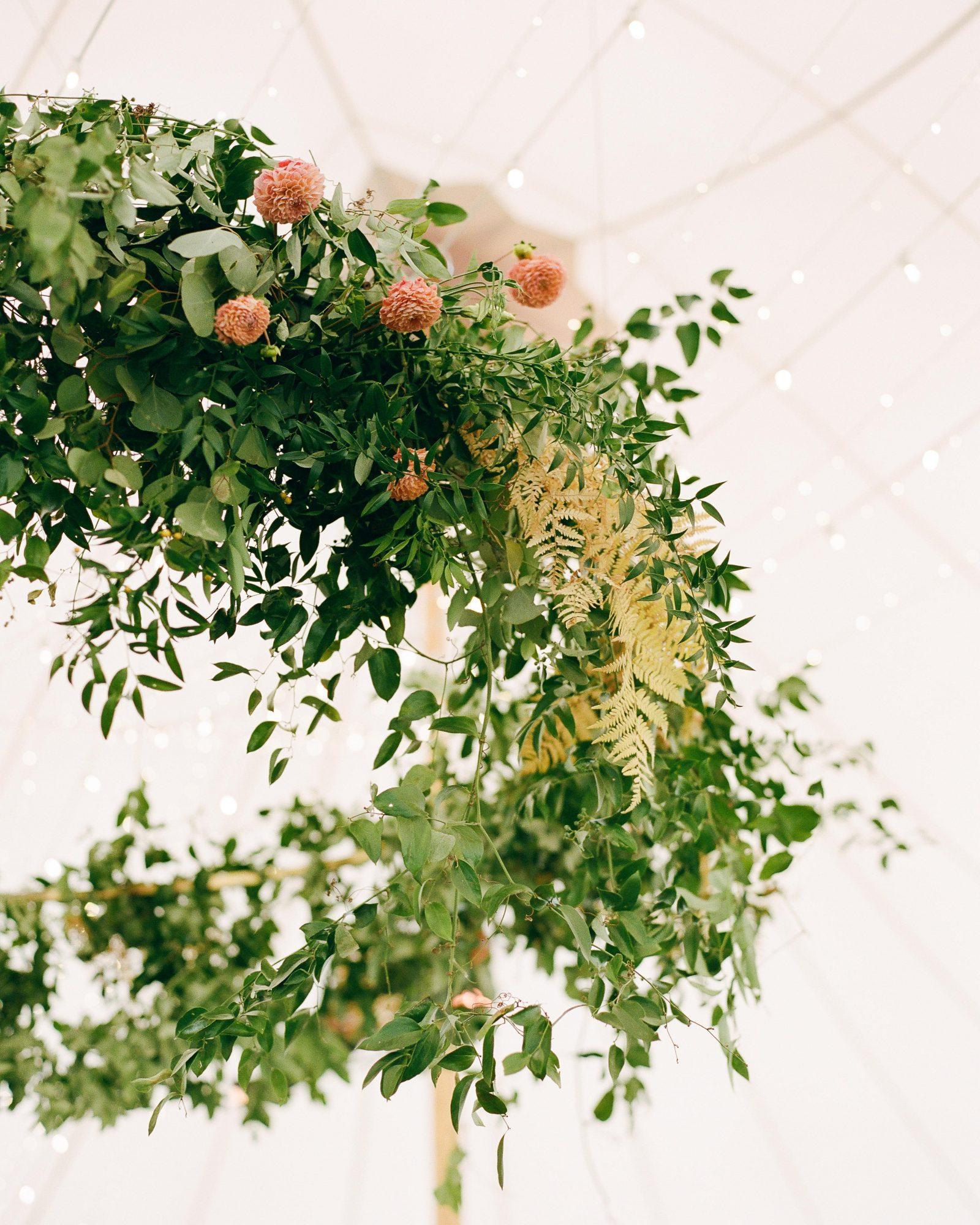 jill phil wedding overhead flower reception decor
