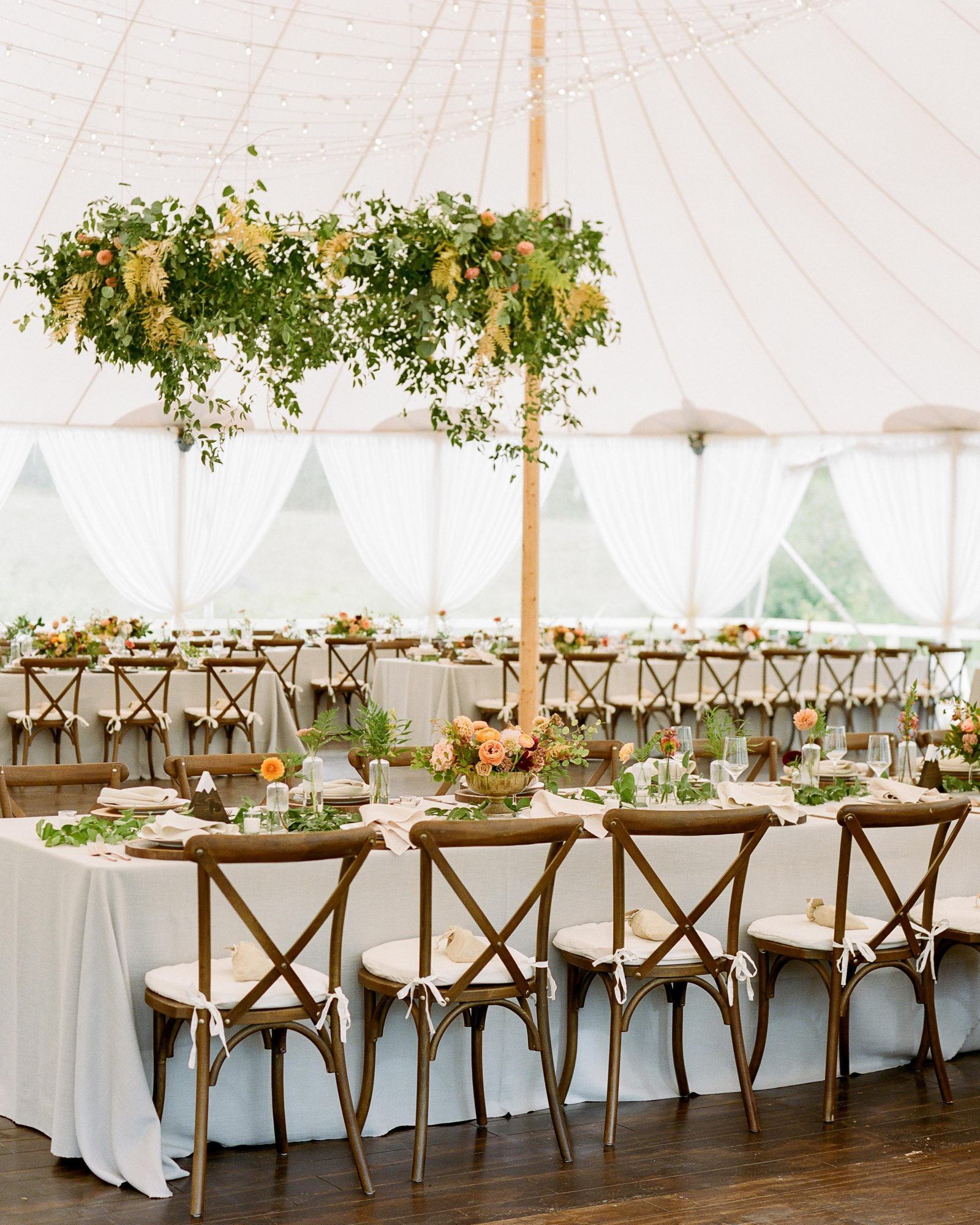 jill phil wedding reception with hanging flower decor