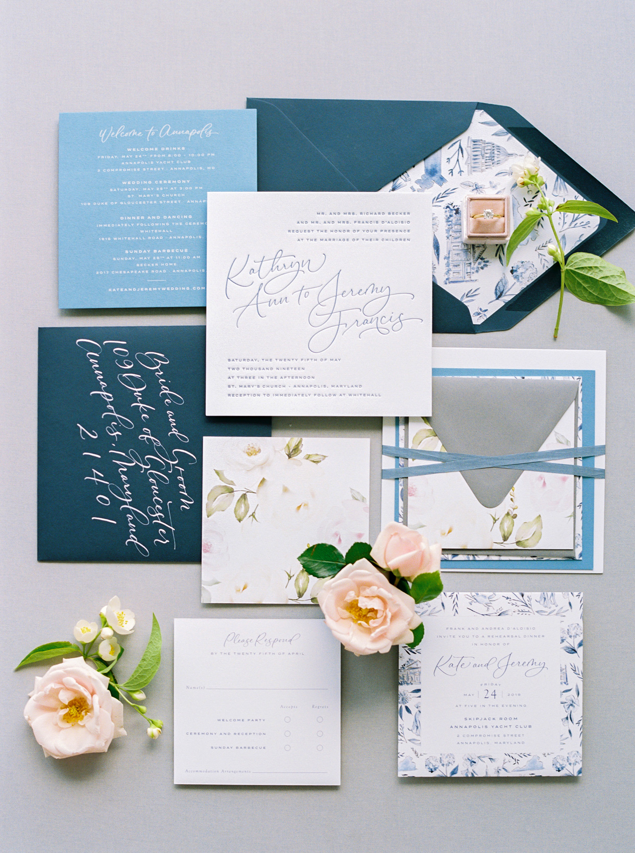 coastal-chic multi-blue hued wedding invites