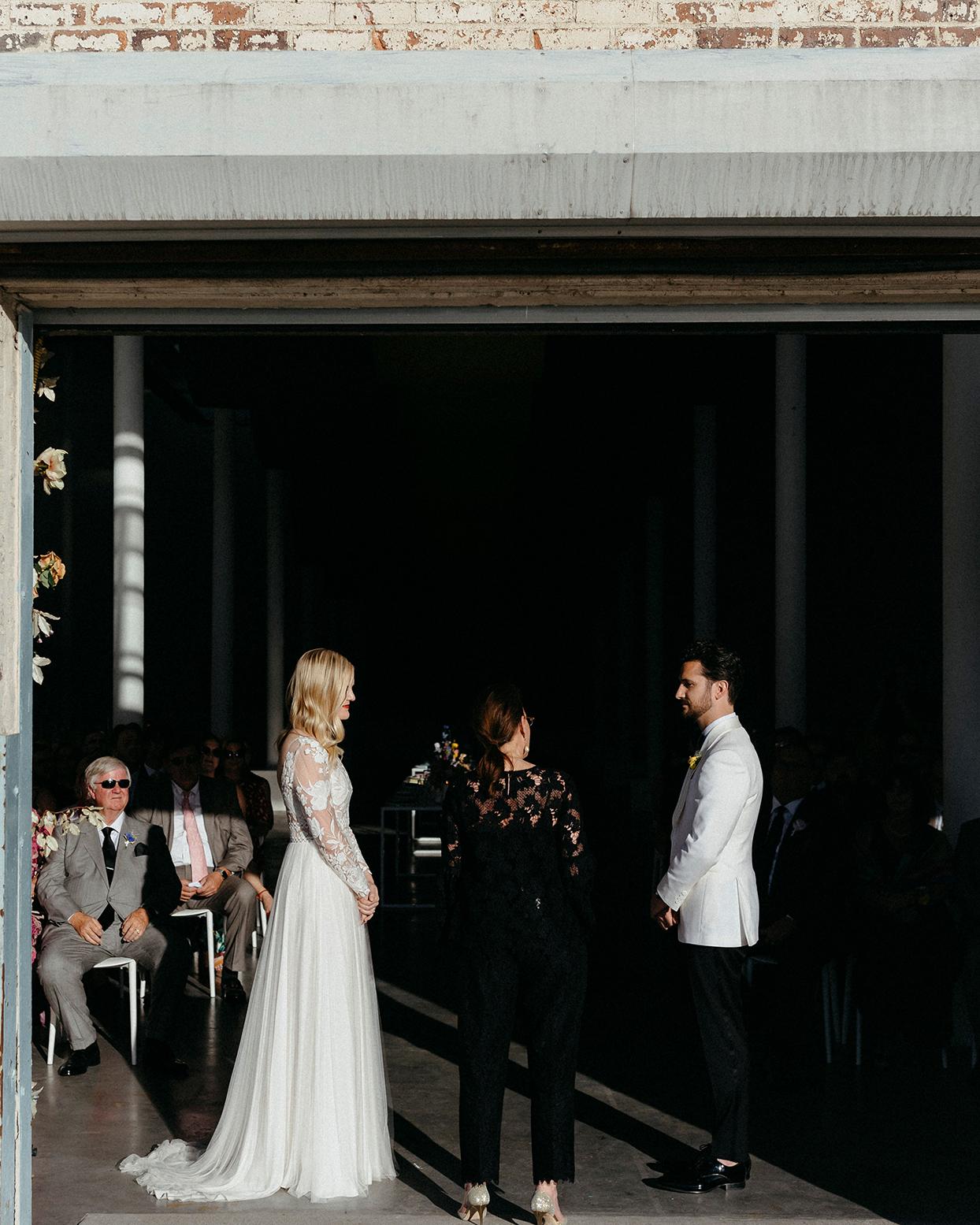 kristen jonathan wedding ceremony modern space