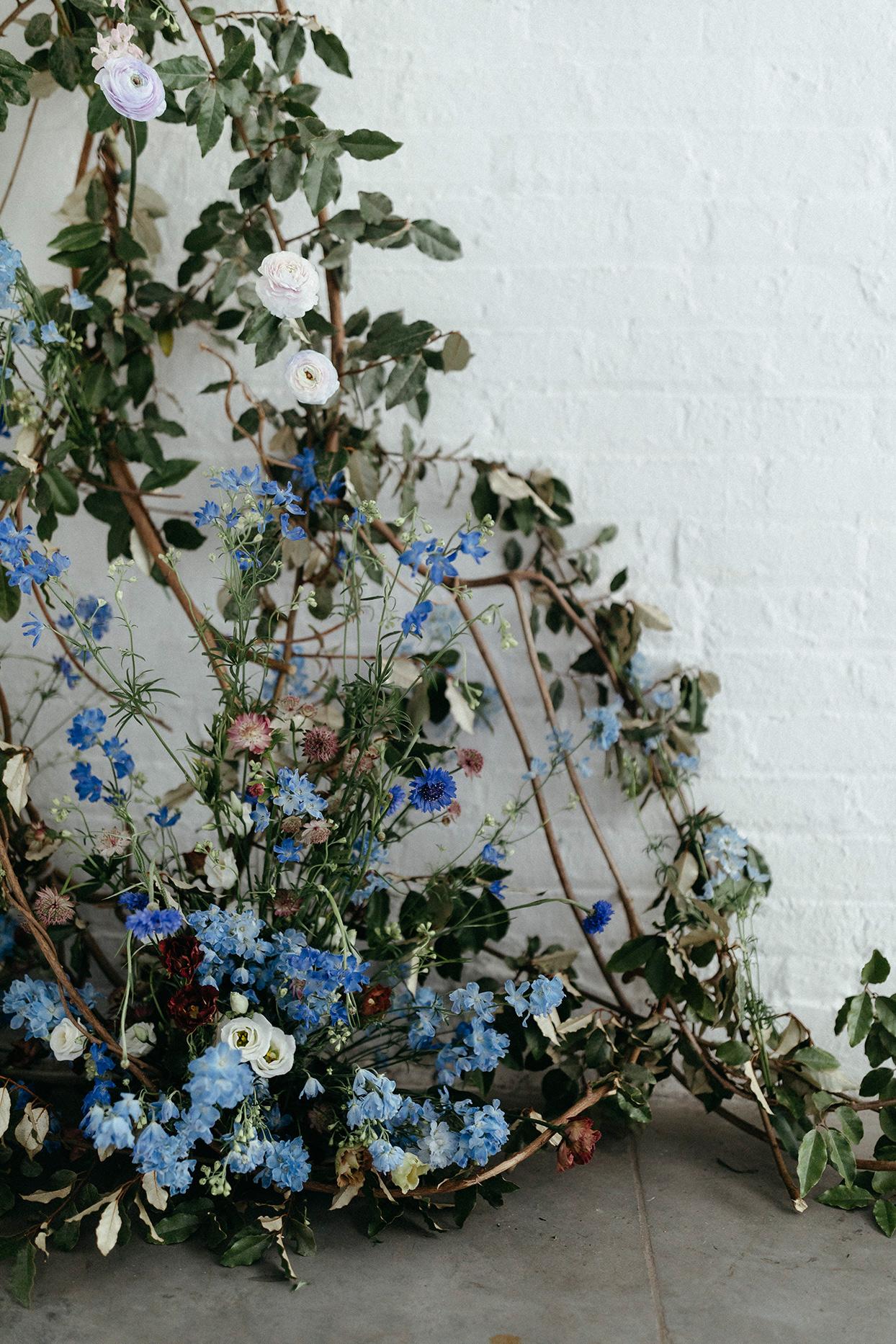 kristen jonathan wedding ceremony blue florals