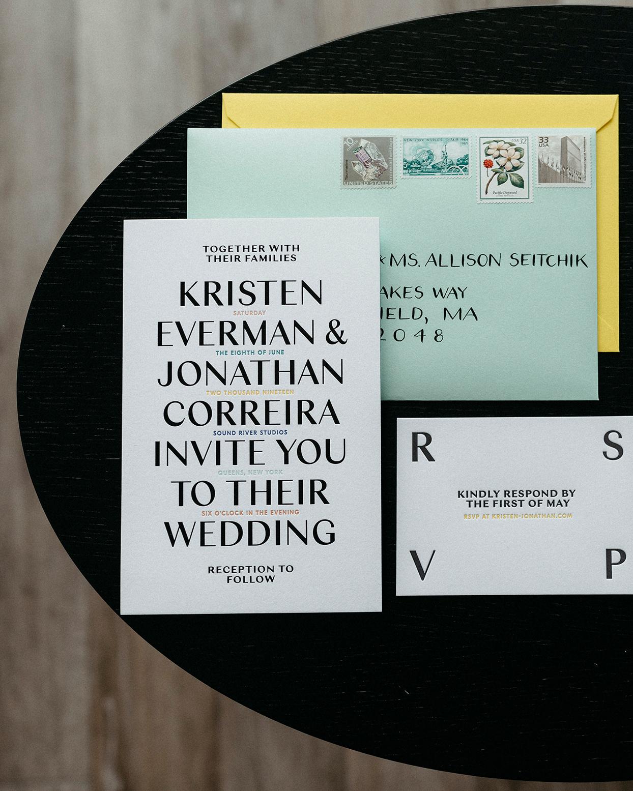 kristen jonathan modern wedding invites