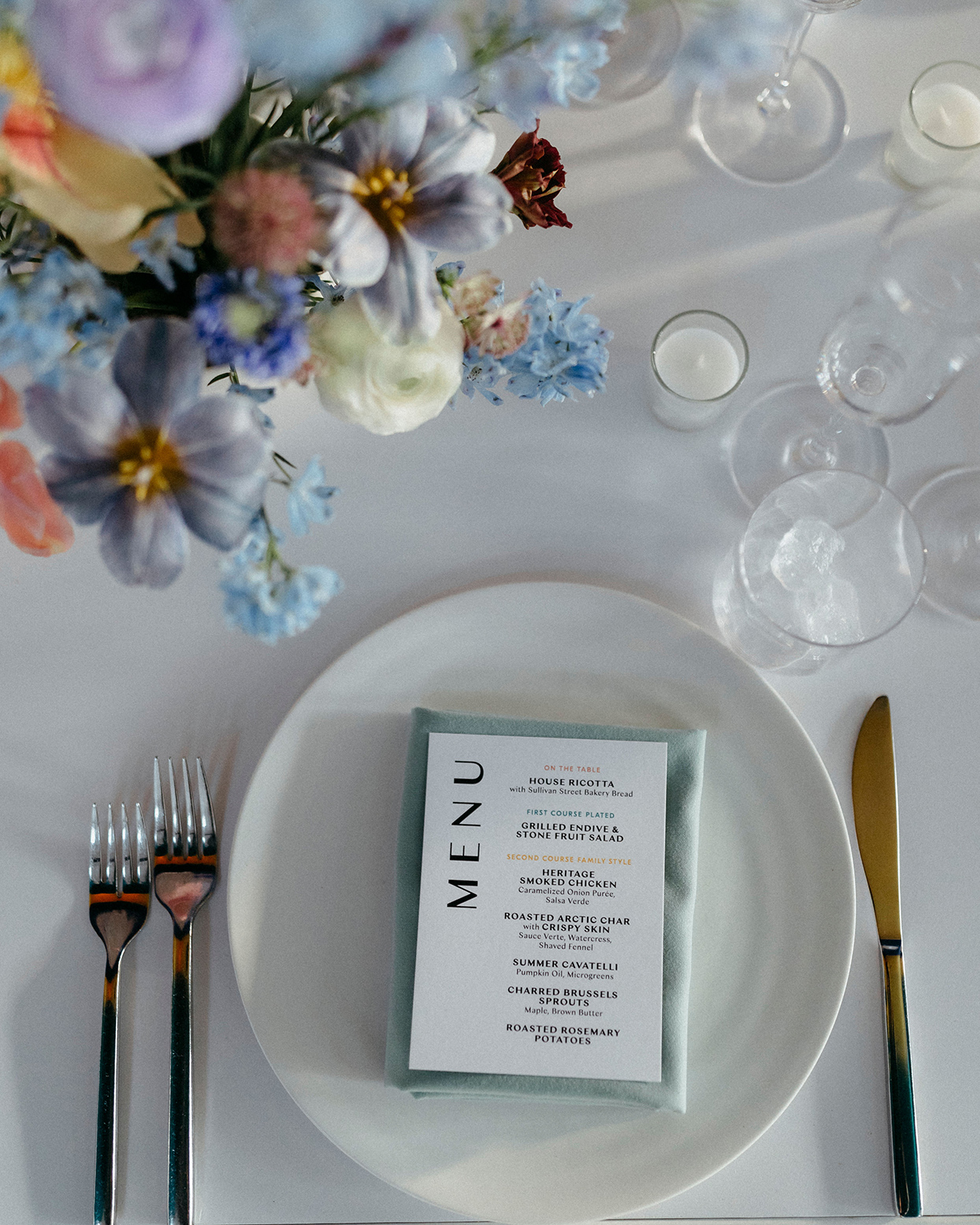 kristen jonathan wedding place setting menu