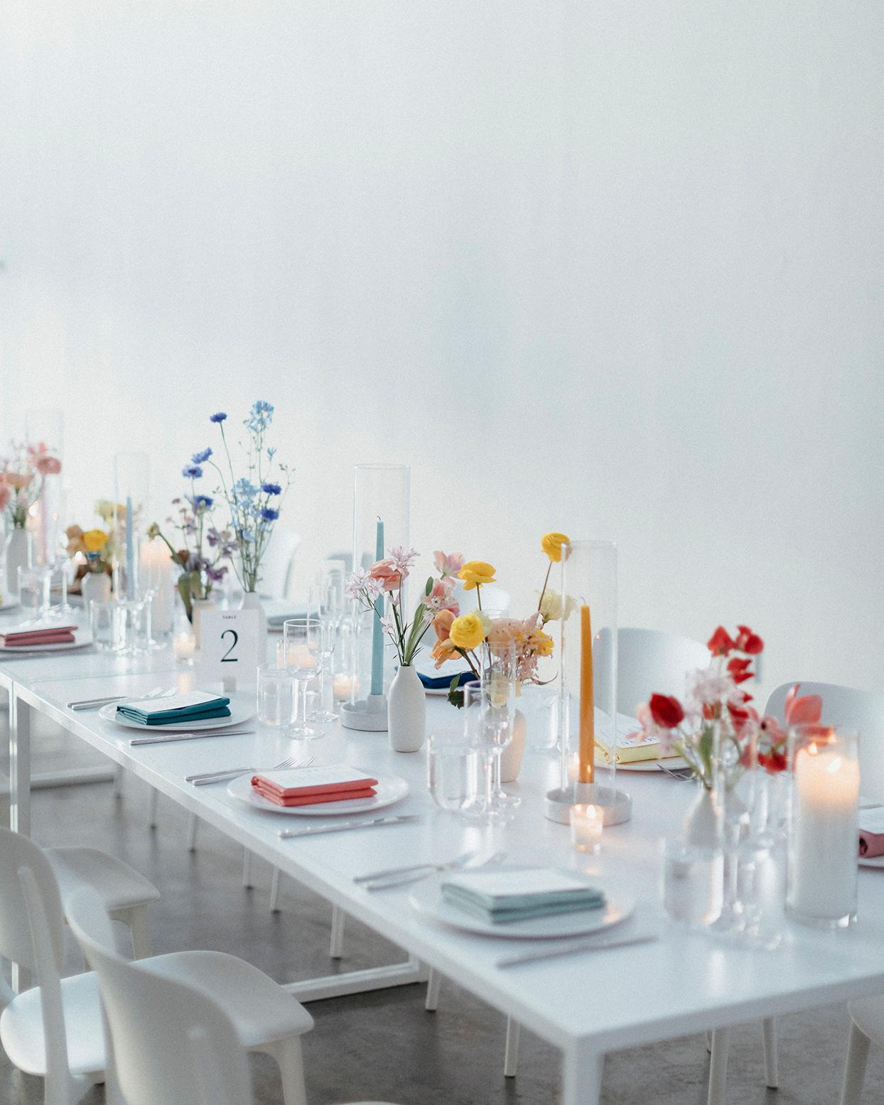 kristen jonathan wedding reception tables modern