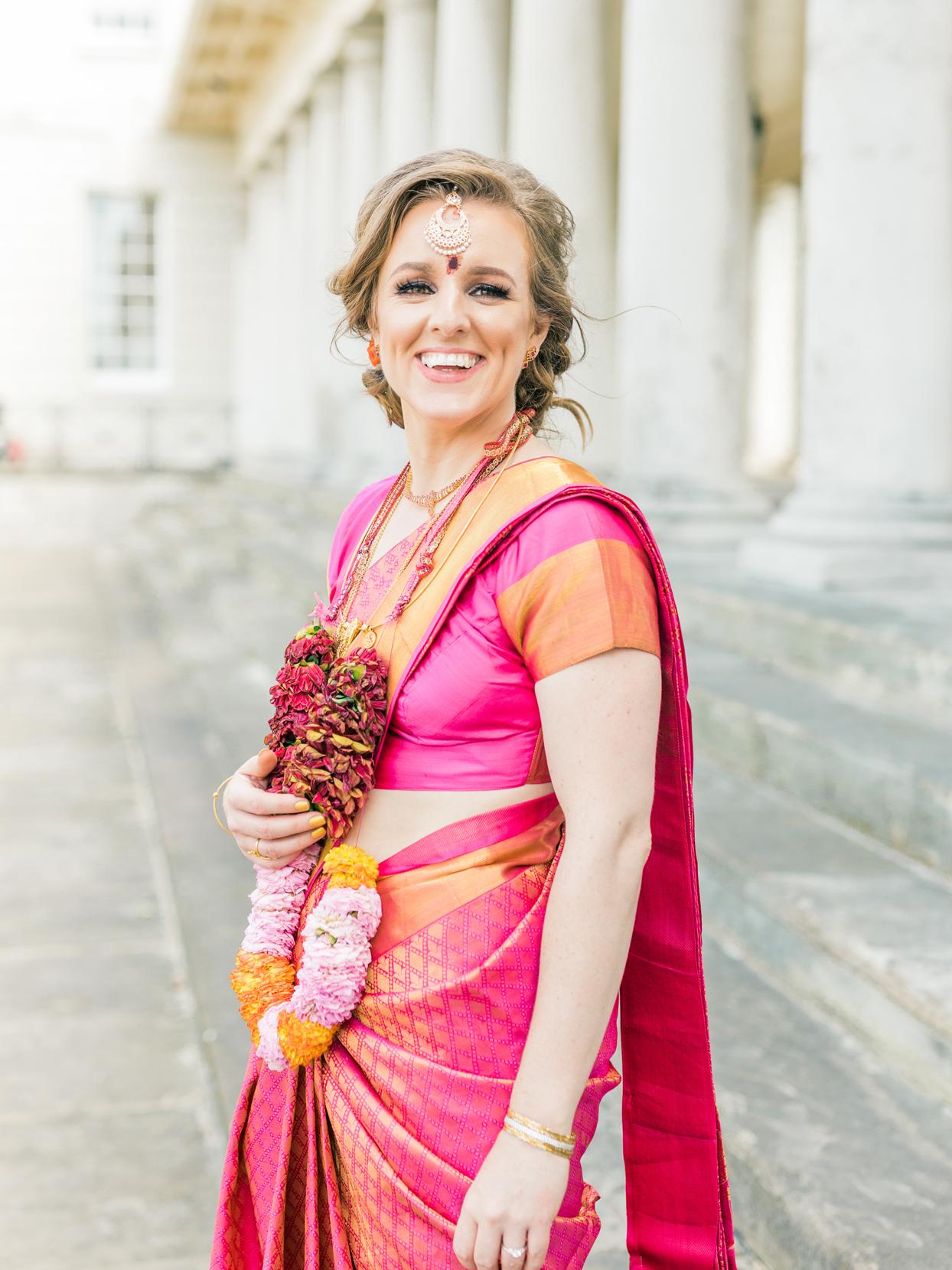 raspberry and orange colored diamond patterned wedding sari