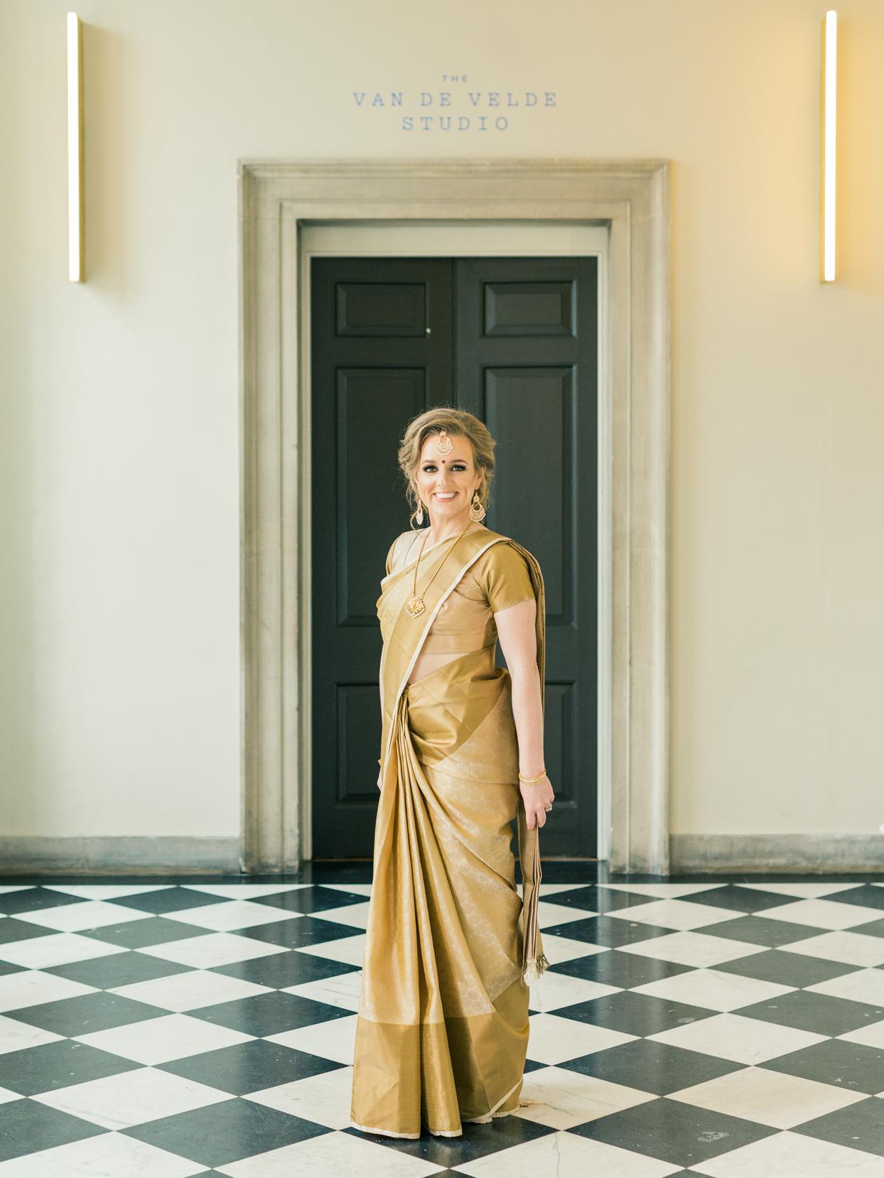 gold colored wedding sari