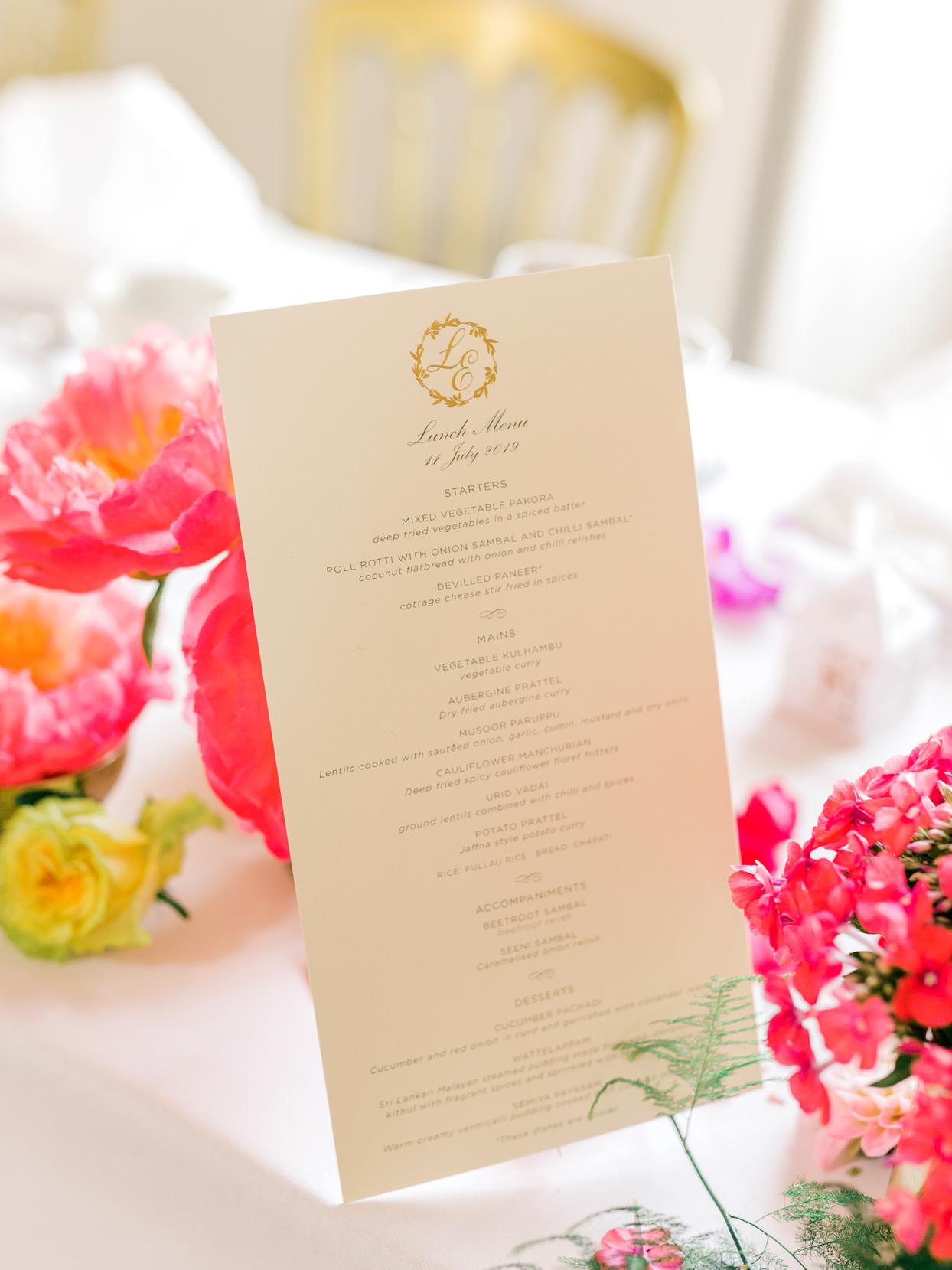 custom monogram wedding lunch menu