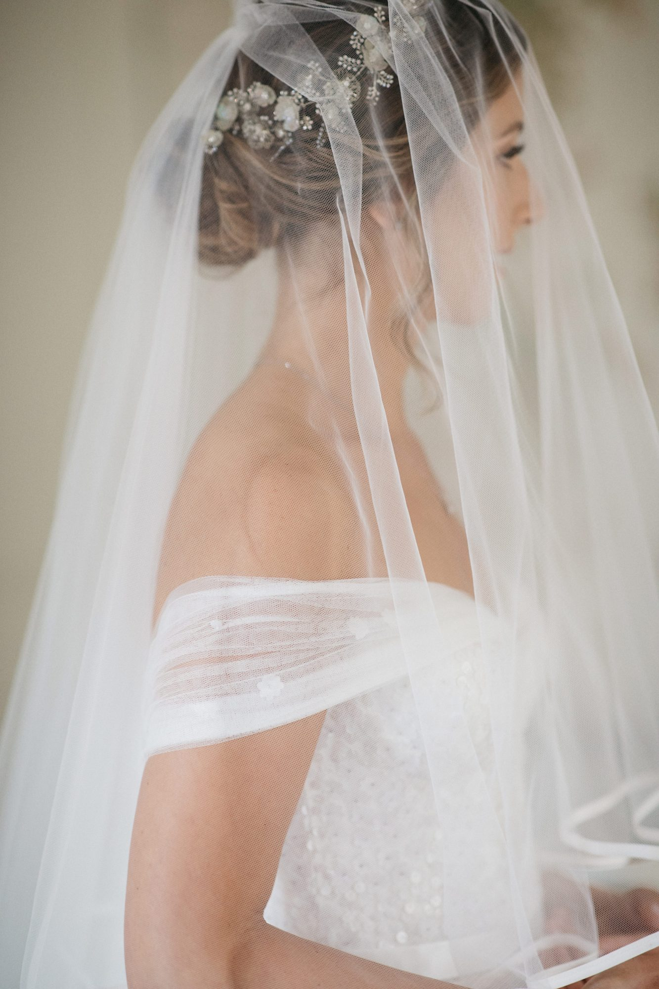 laurie lee wedding bride veil and hair with dress details