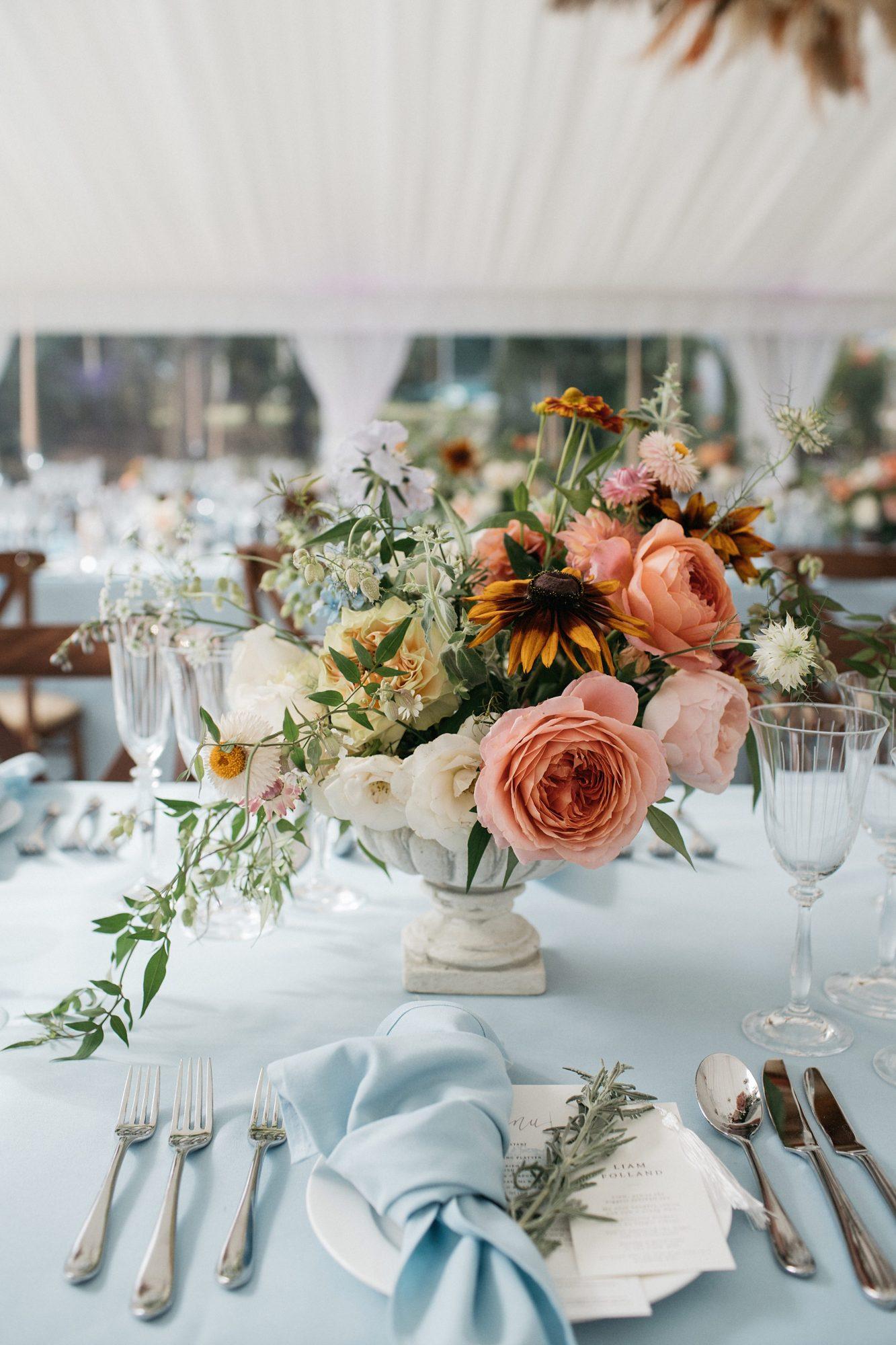 laurie lee wedding reception floral centerpieces