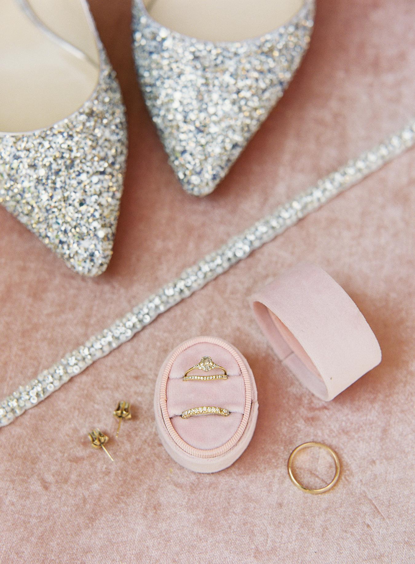 brides glittery shoes rings earrings