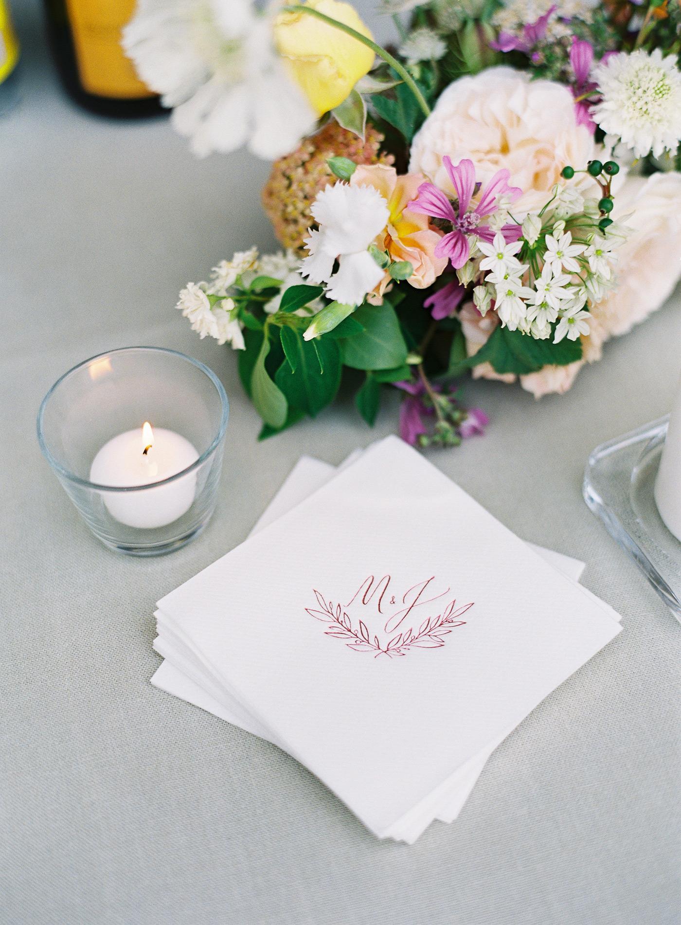 monogram cocktail napkins