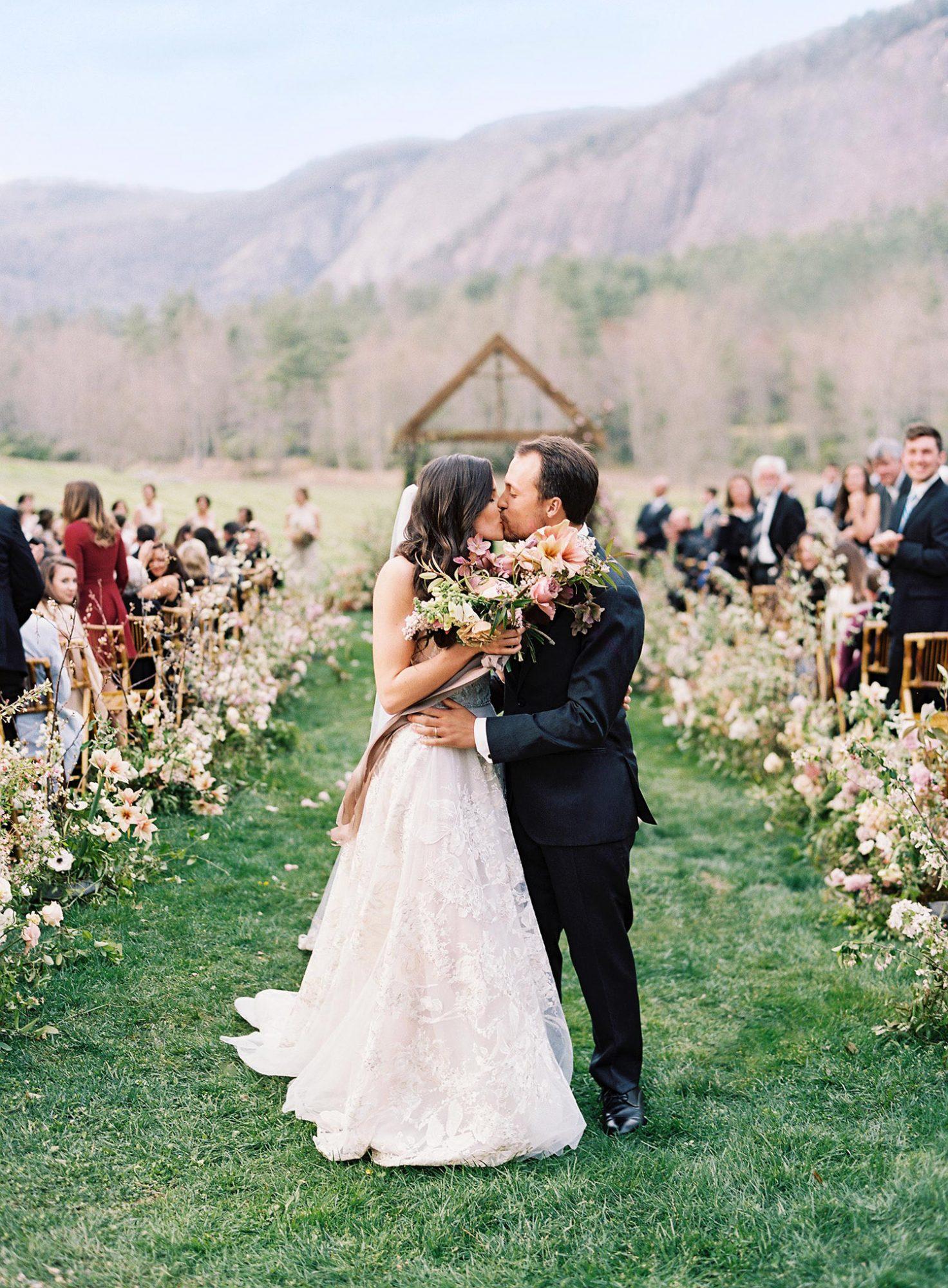 maya trey wedding couple kiss