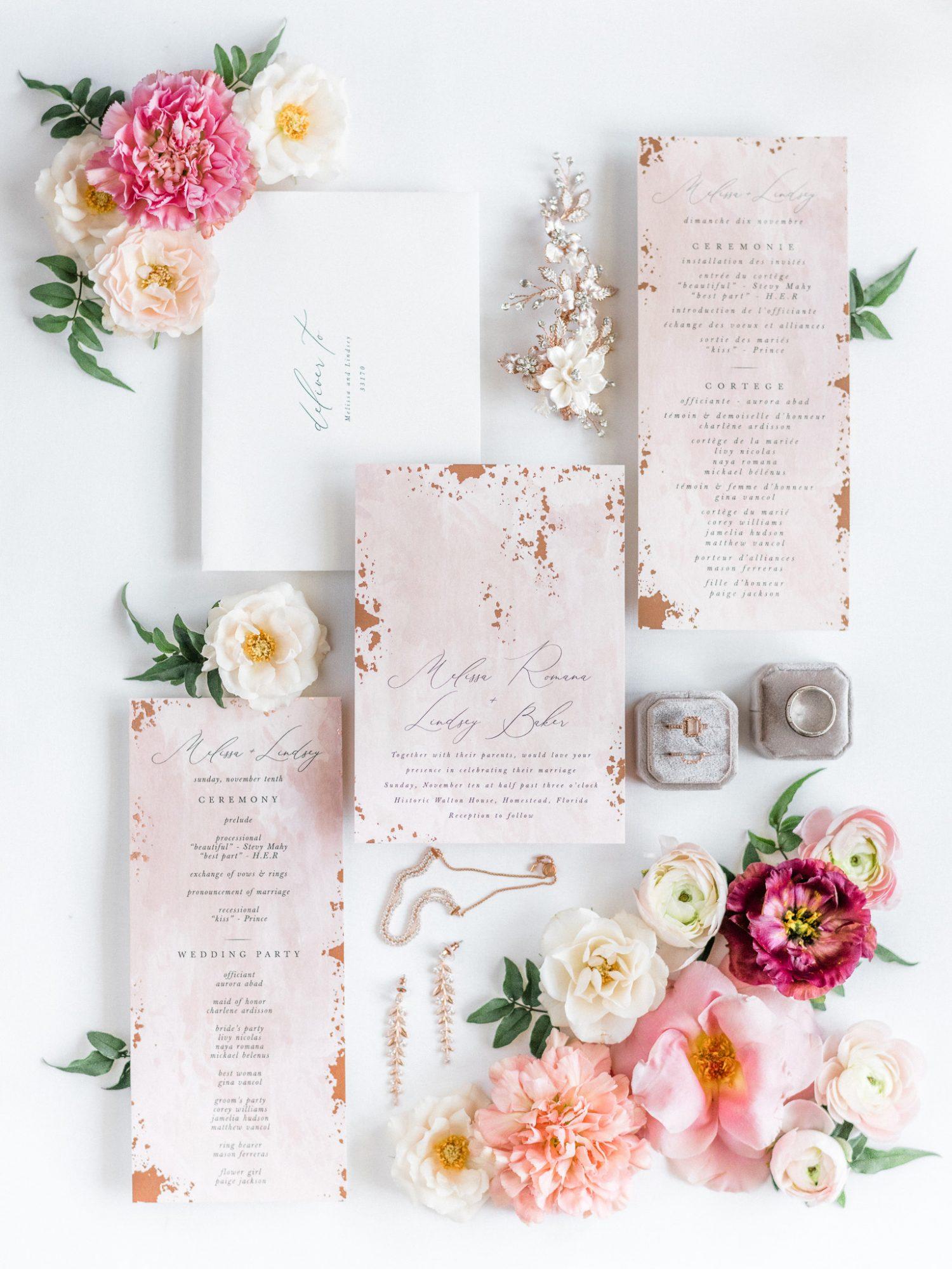 melissa lindsey wedding invitation suite with flowers