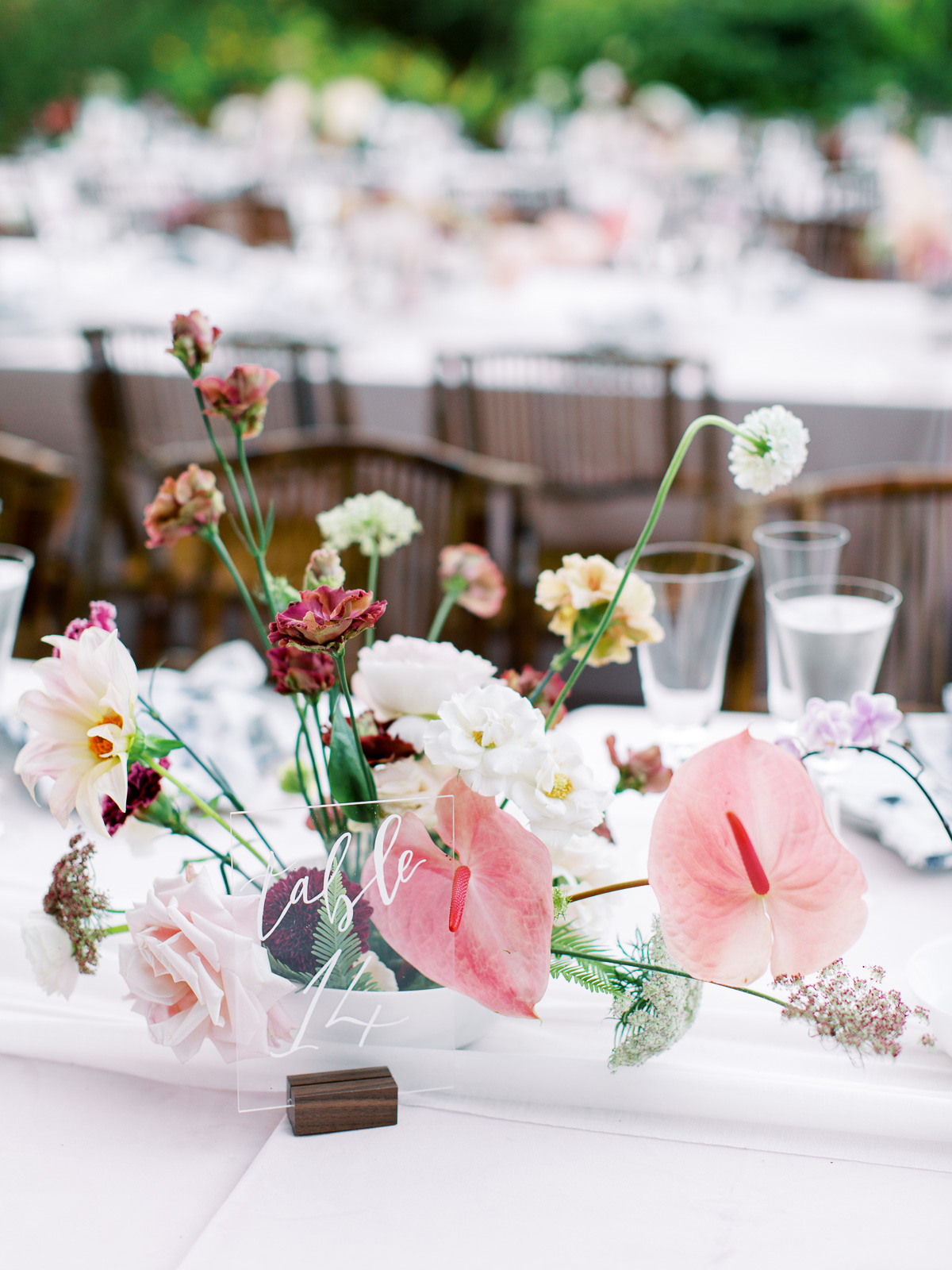 melissa lindsey wedding floral centerpiece clear table number