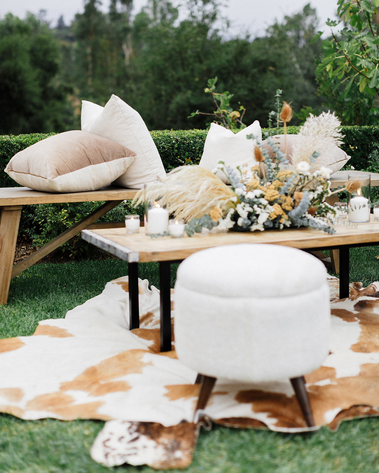sam jack welcome party table and bench with pillows