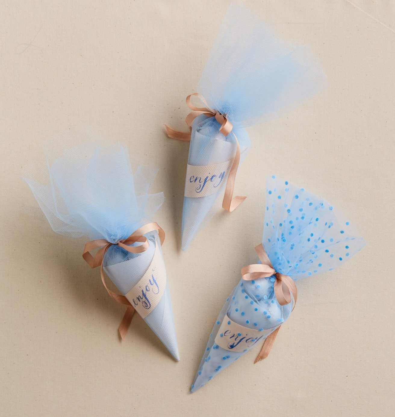 blue tulle cone favors