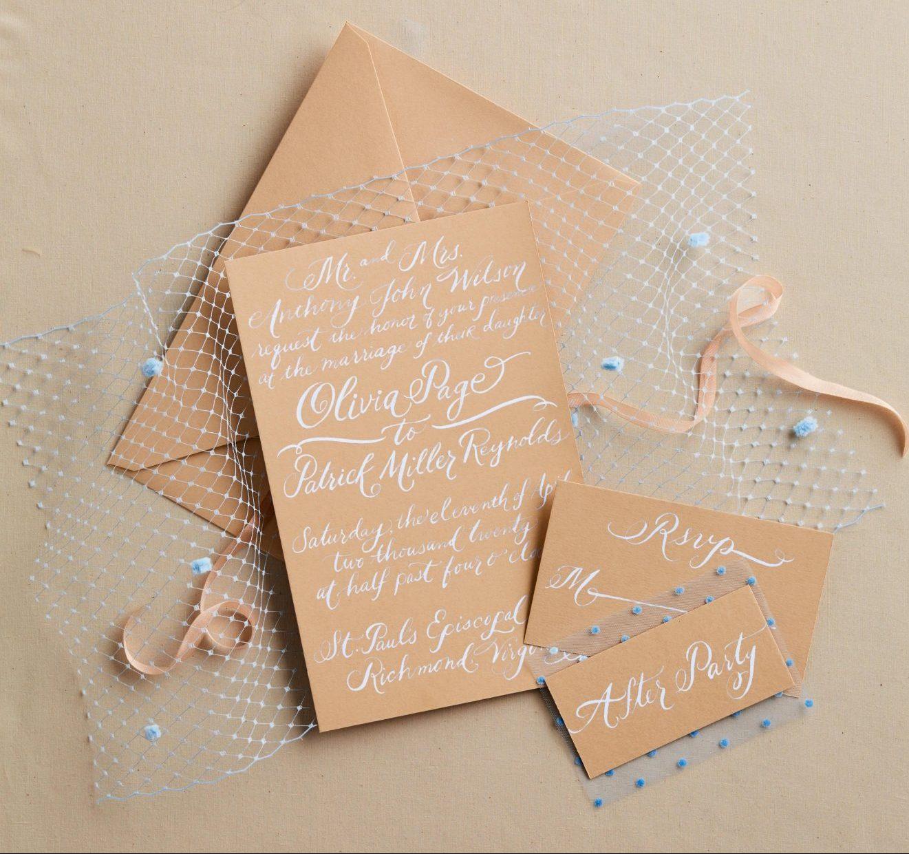 tulle wedding invitations