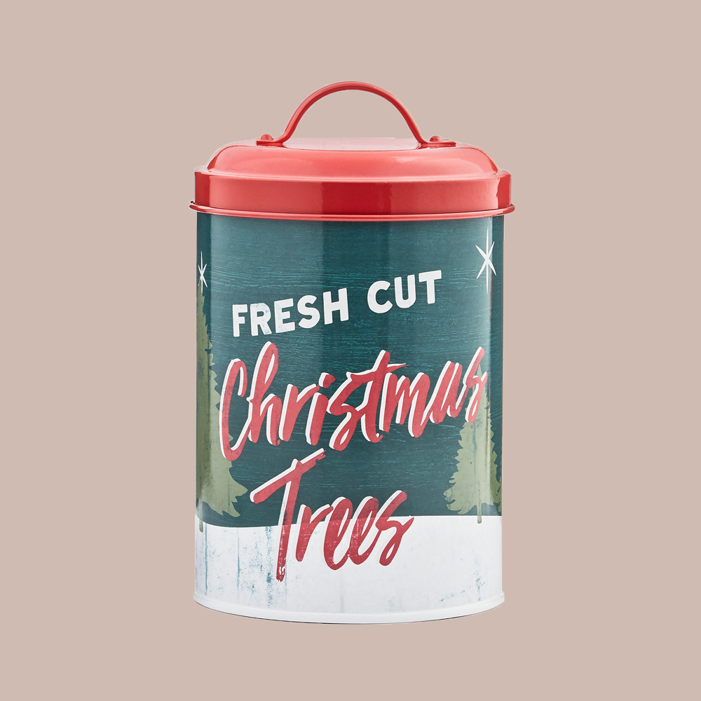 Martha Stewart Collection Christmas-Themed Cookie Tin, Canister with Lid