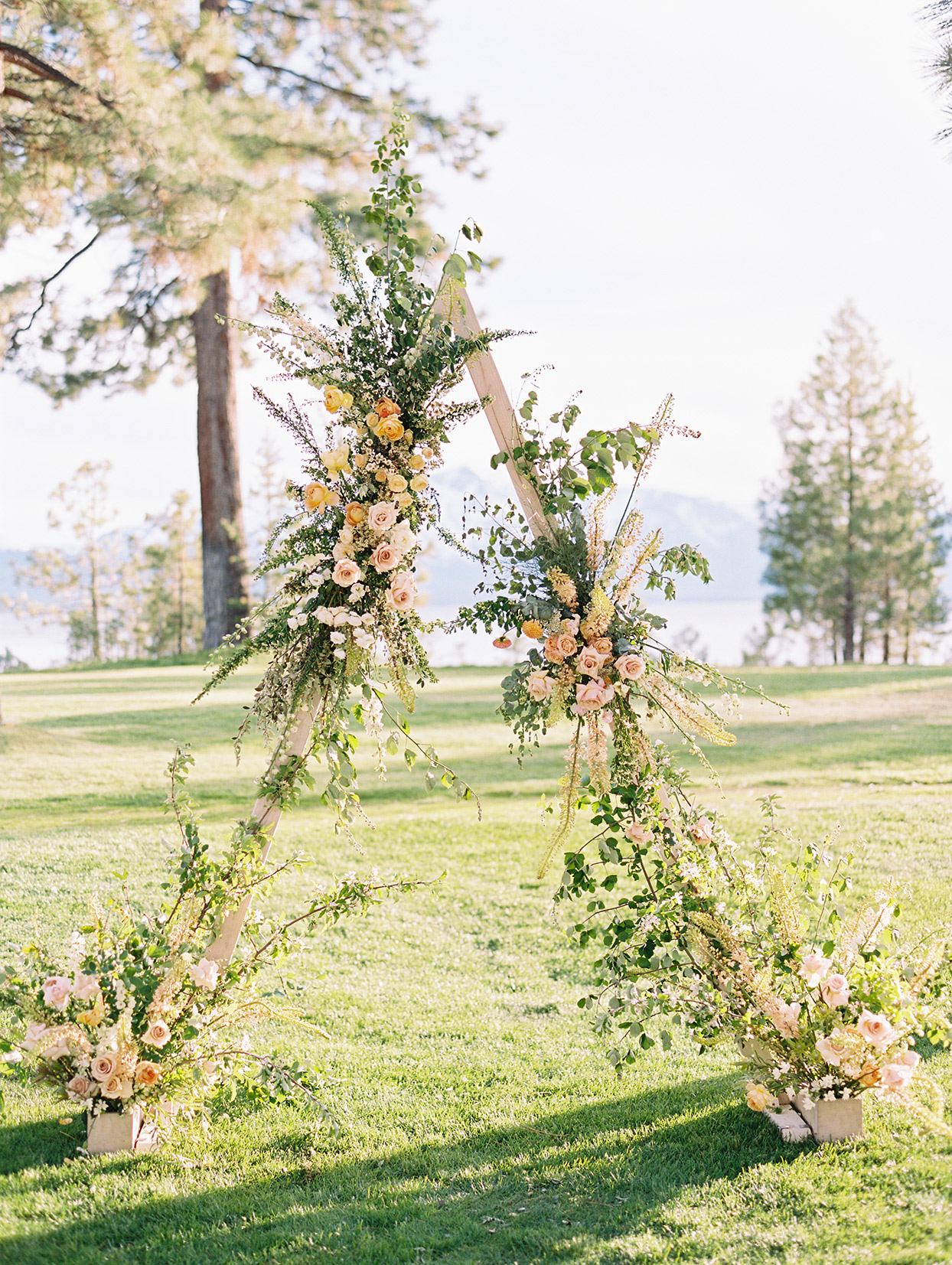 asha andrew wedding ceremony a-frame arch