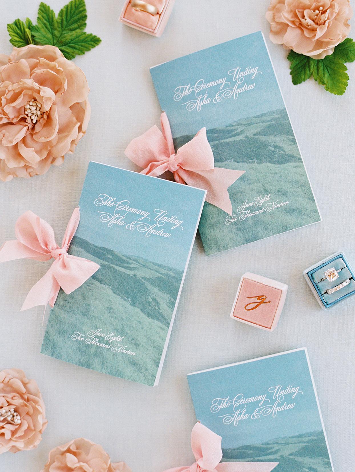 asha andrew wedding ceremony scenic programs with pink bows