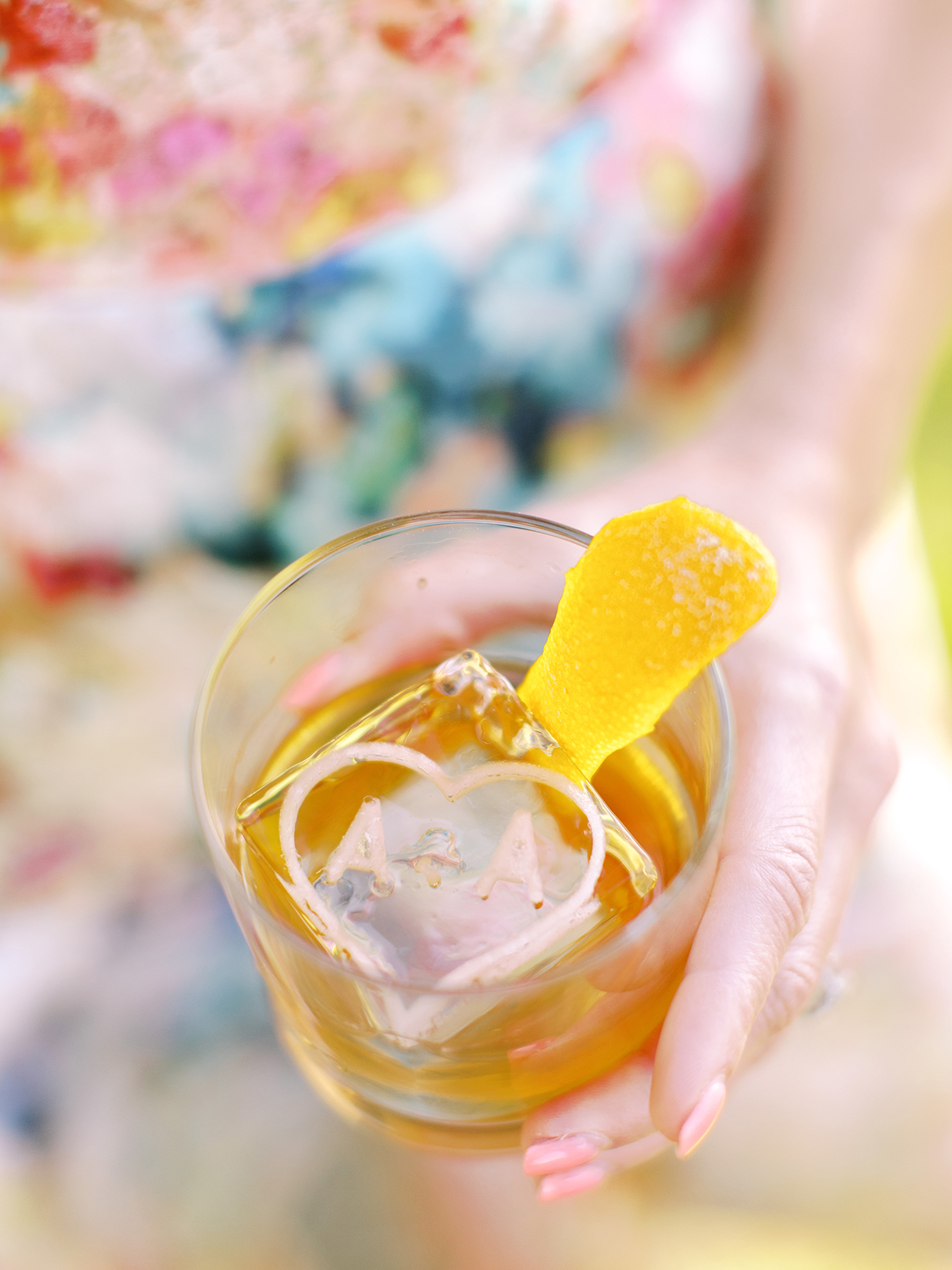 asha andrew wedding cocktail with monogrammed ice cube