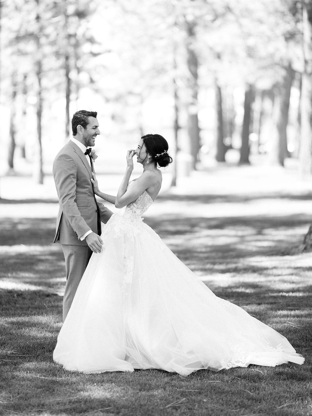 asha andrew wedding first look in field