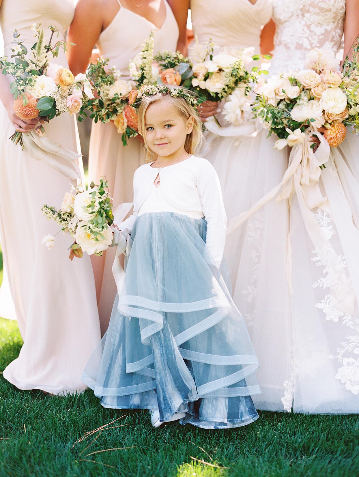 asha andrew wedding flower girl in blue