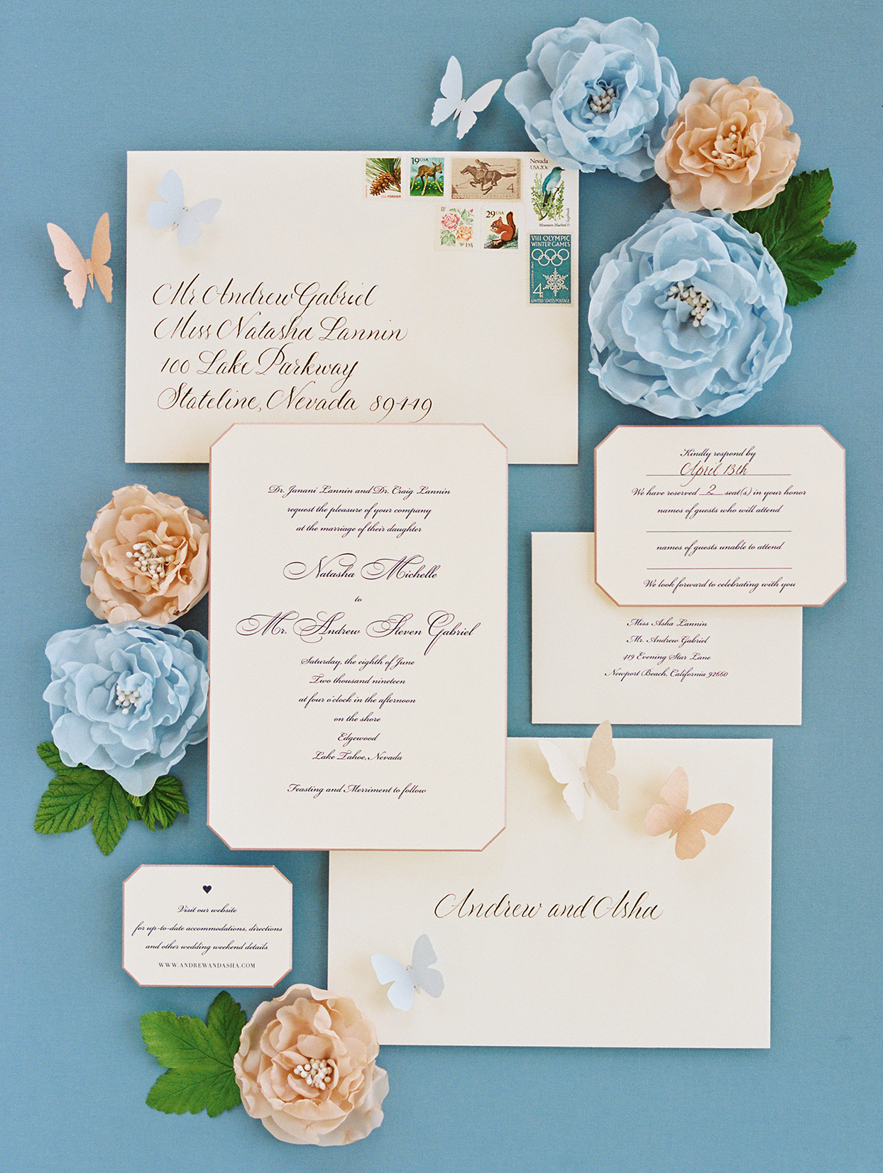 asha andrew wedding invites in pink, peach and blue