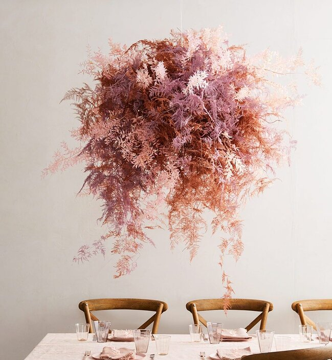 Hanging Floral Installation Made of Dried Pink Flowers