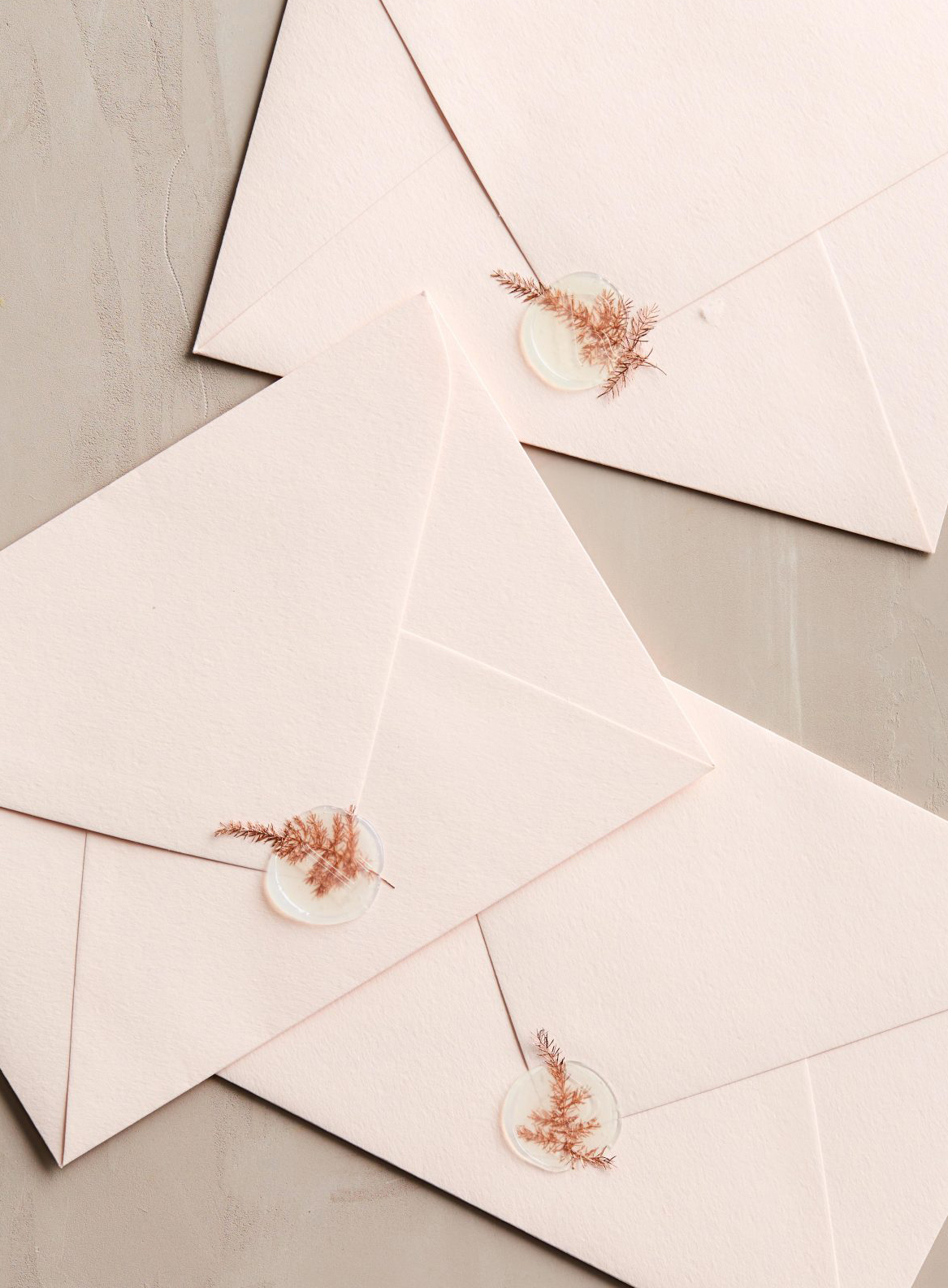 Wax Seals on Wedding Invitations with Dried Flowers