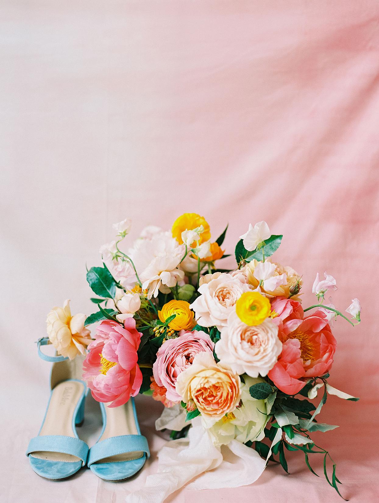 evie joe colorful citrus themed wedding bouquet