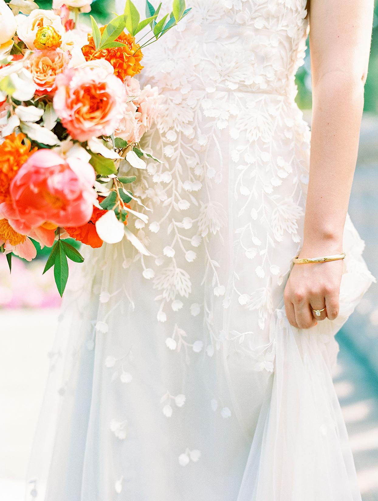 evie joe wedding floral brocade on bride's dress