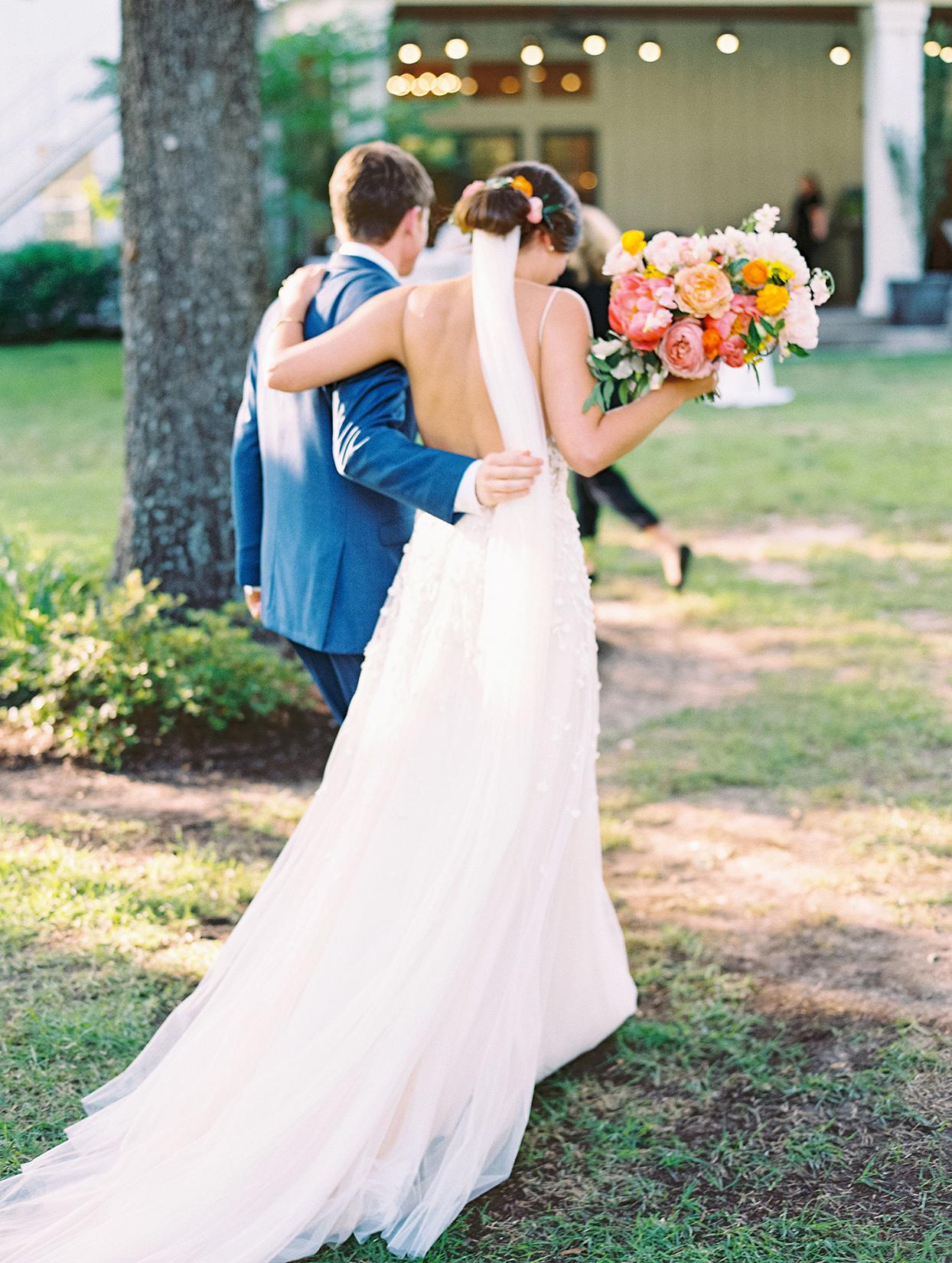 evie joe wedding couple walking