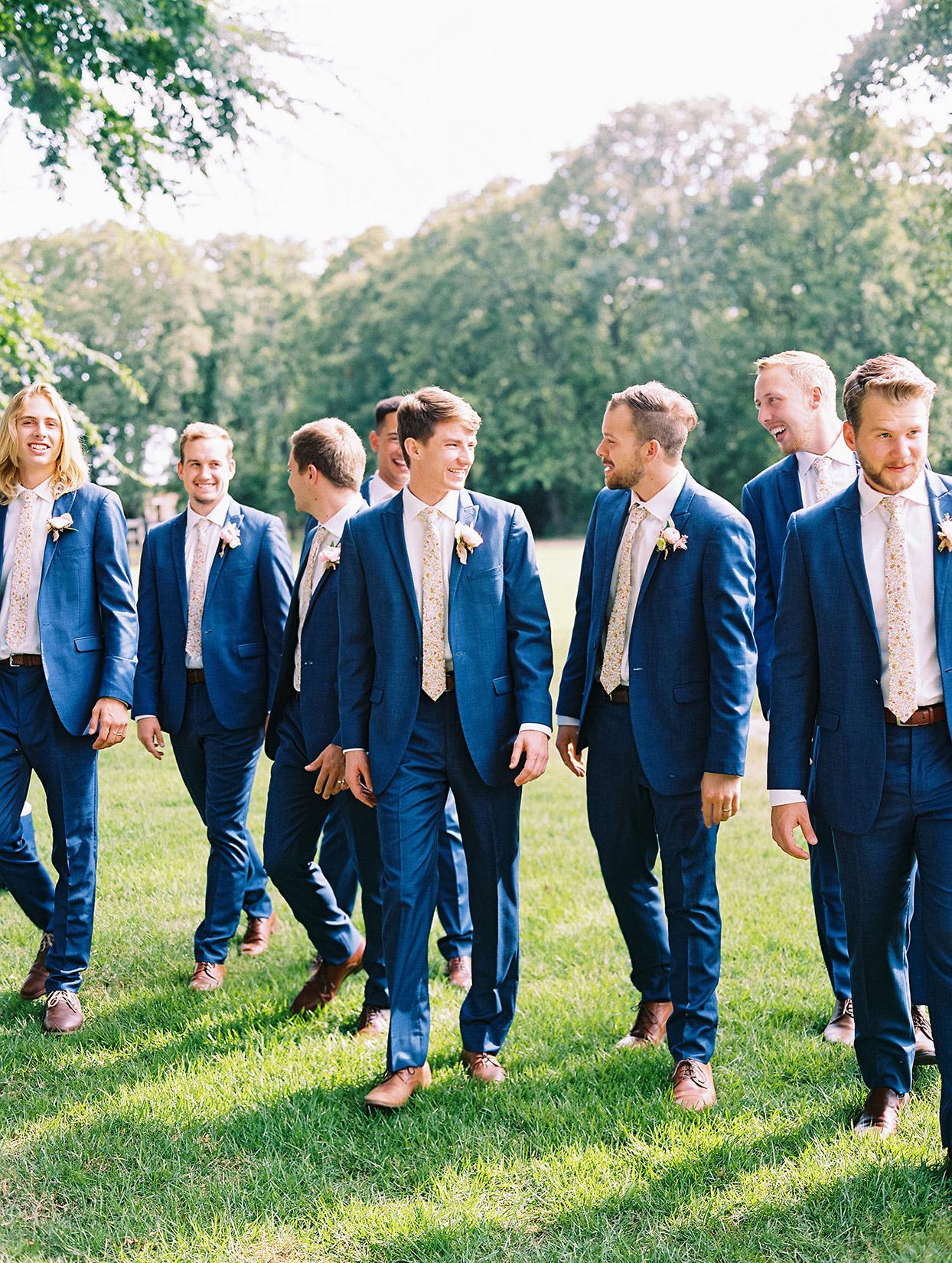 evie joe wedding groomsmen in blue suits