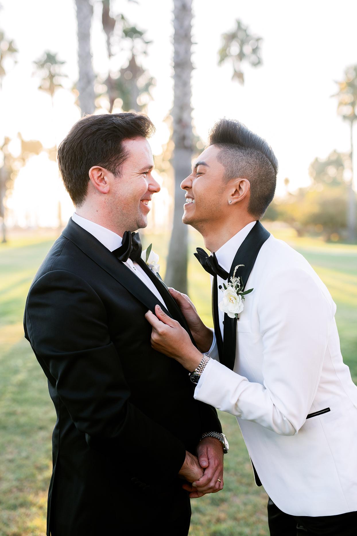 jason justing wedding couple laughing together