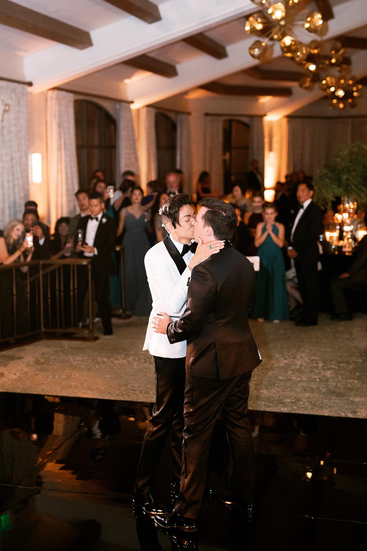 jason justin wedding reception first dance kiss
