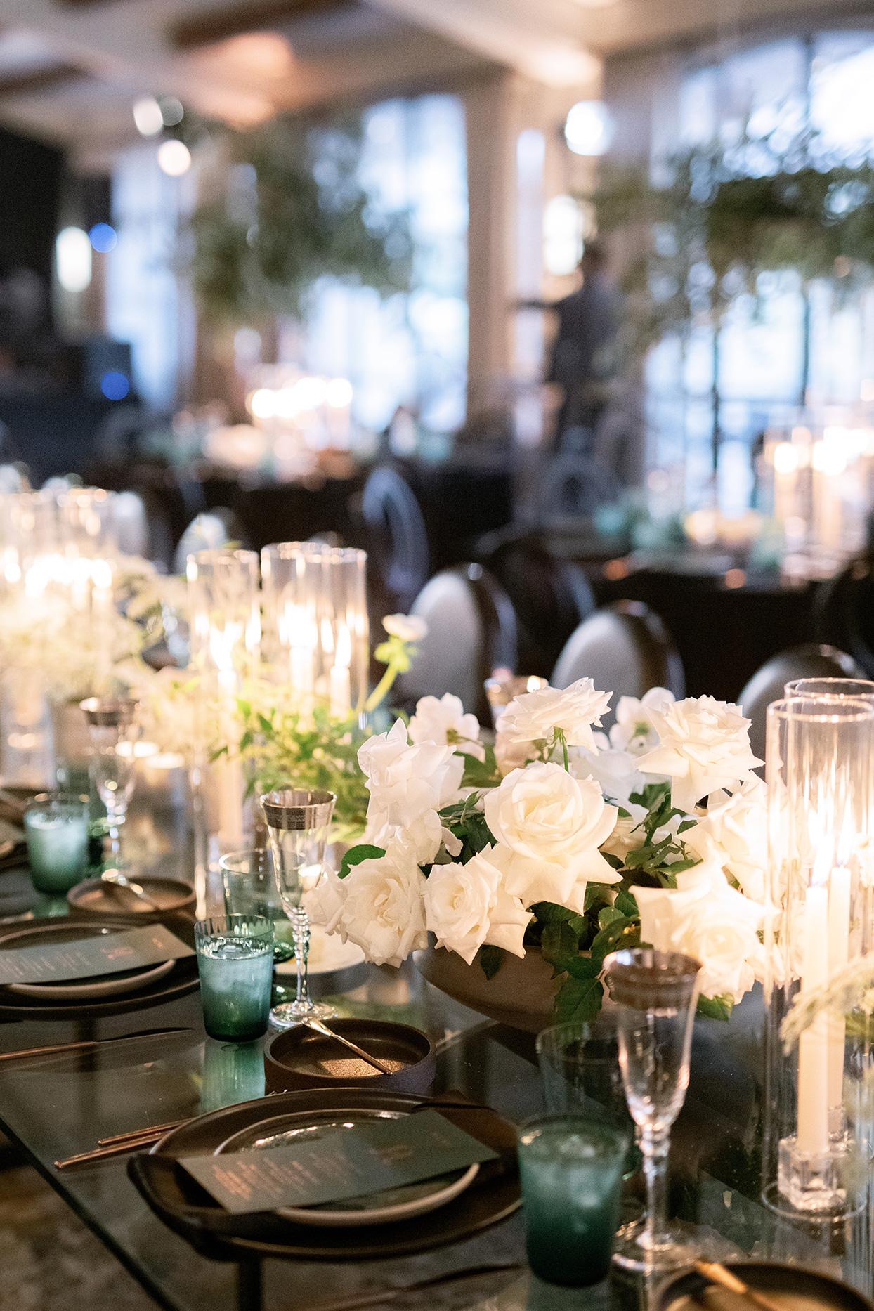 jason justin wedding reception white floral centerpieces