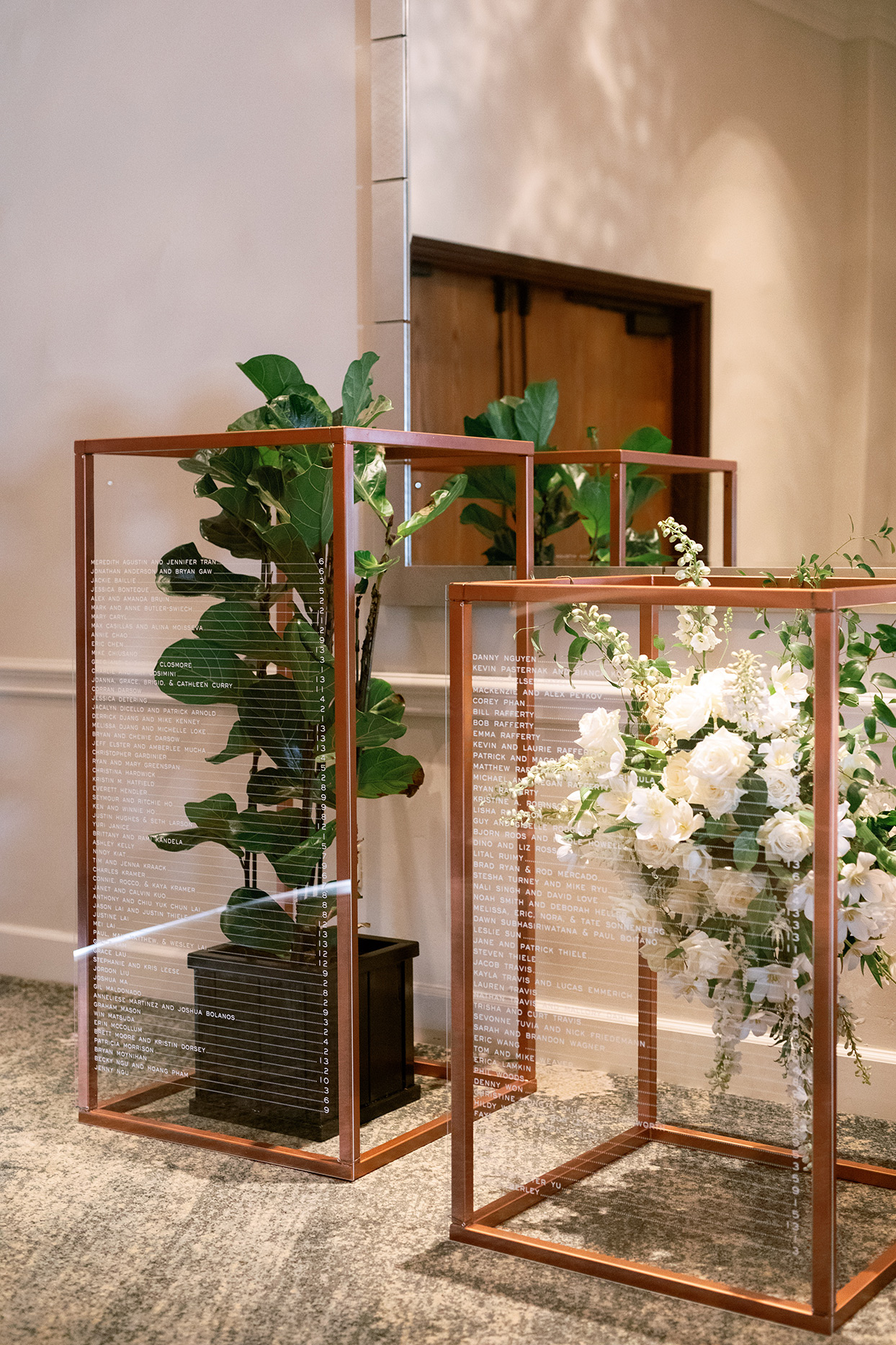 jason justin wedding seating chart clear plant boxes