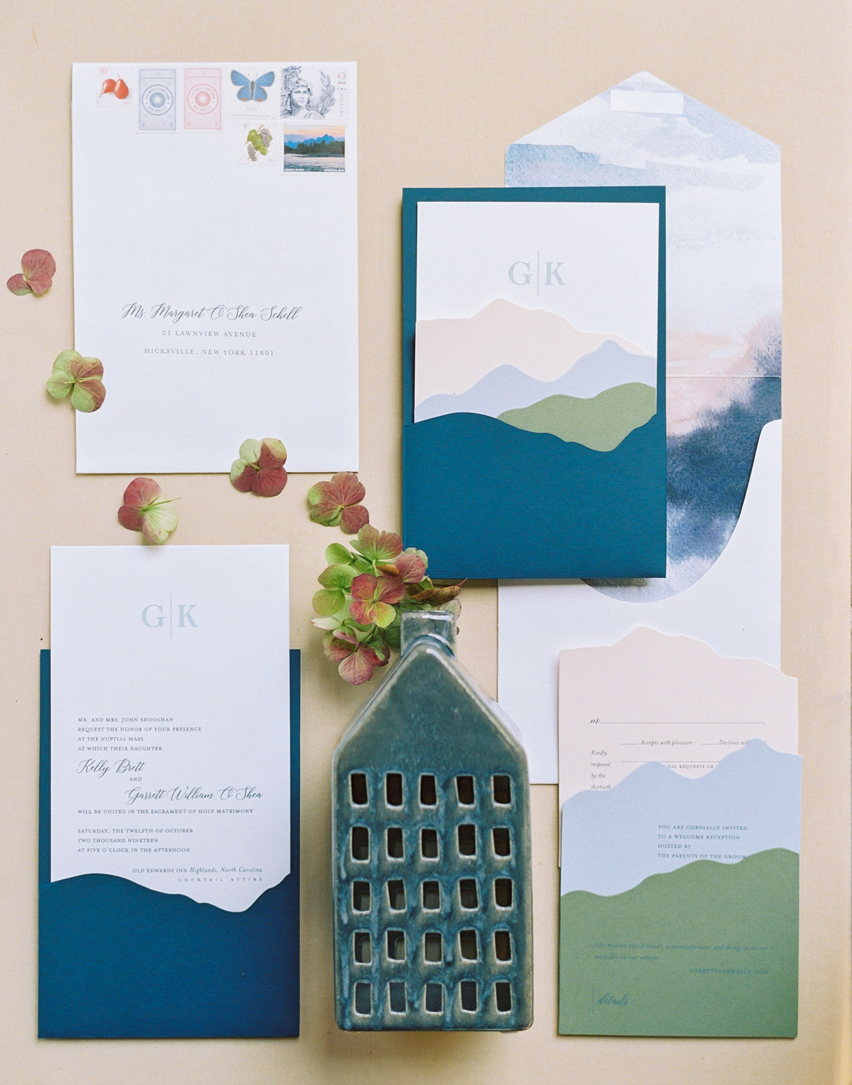 Invitation that were inspired by North Carolina mountains with a layered design