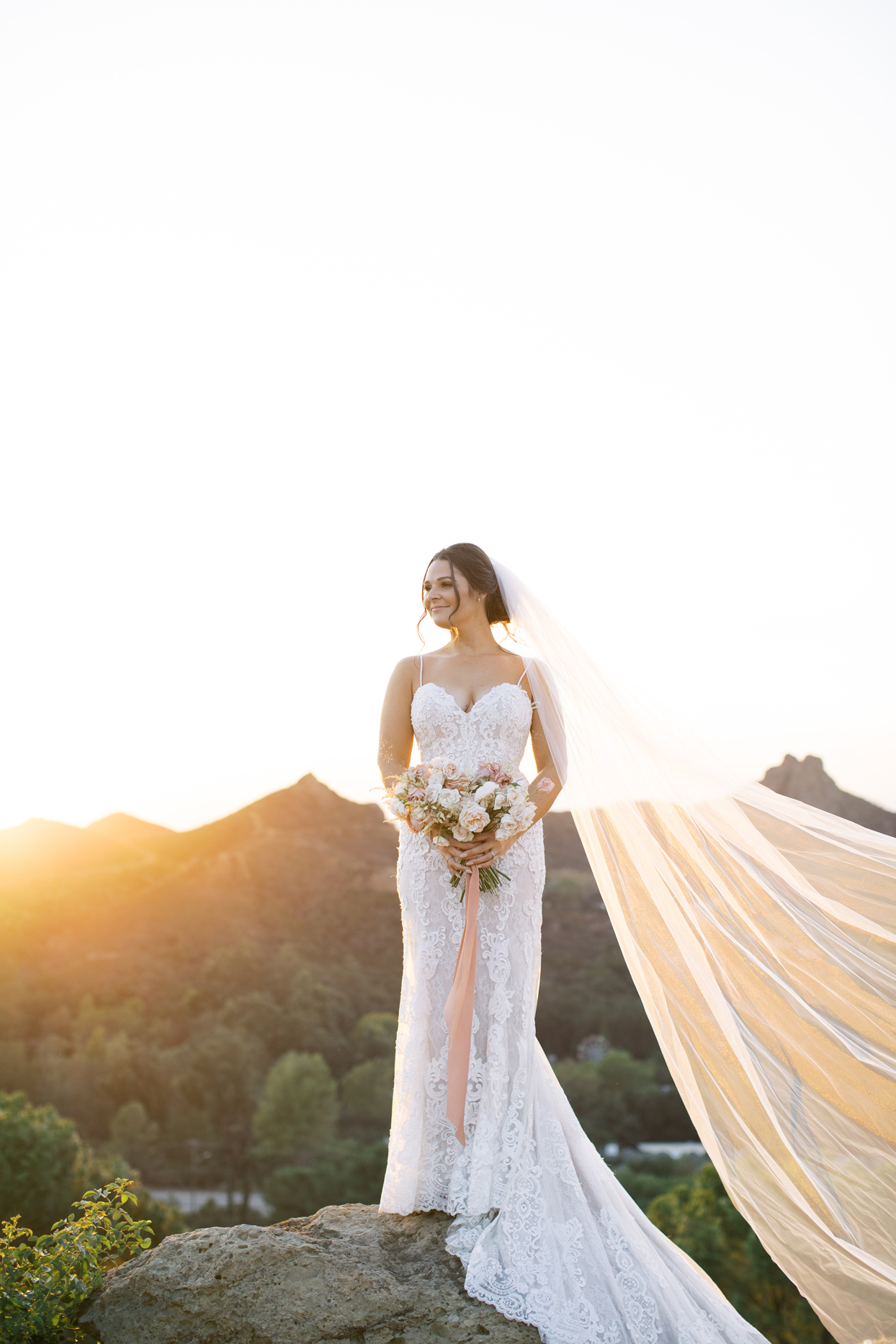 Bride wearing a fit and flare Angel Rivera gown with a sweetheart neckline, lace appliques, and beading details