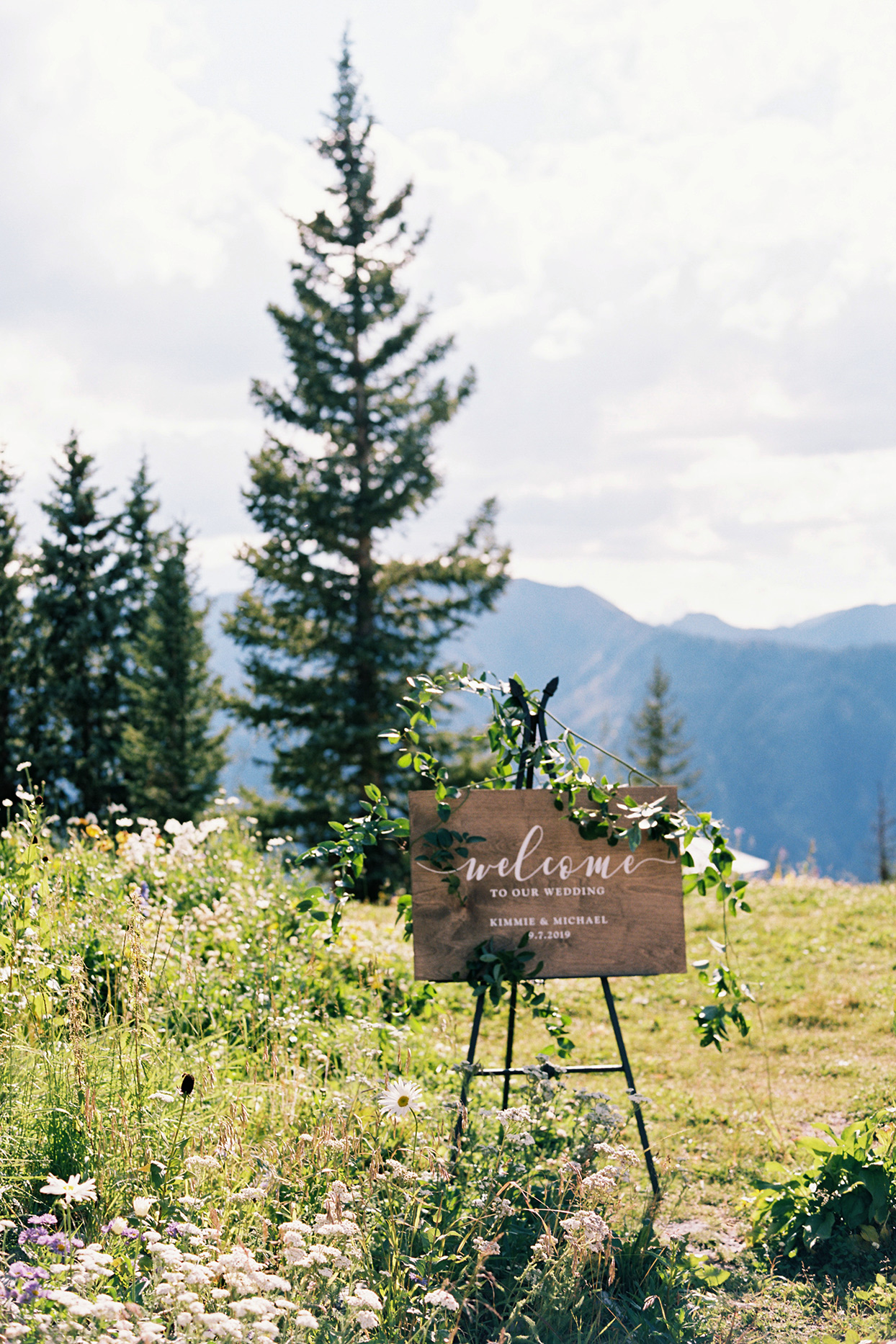 kimmie mike wooden wedding sign in flower field