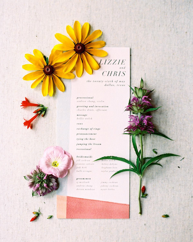 Wedding program with wildflowers