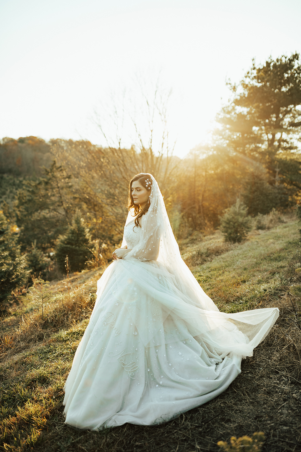 noelle danny wedding bride in field at sunset