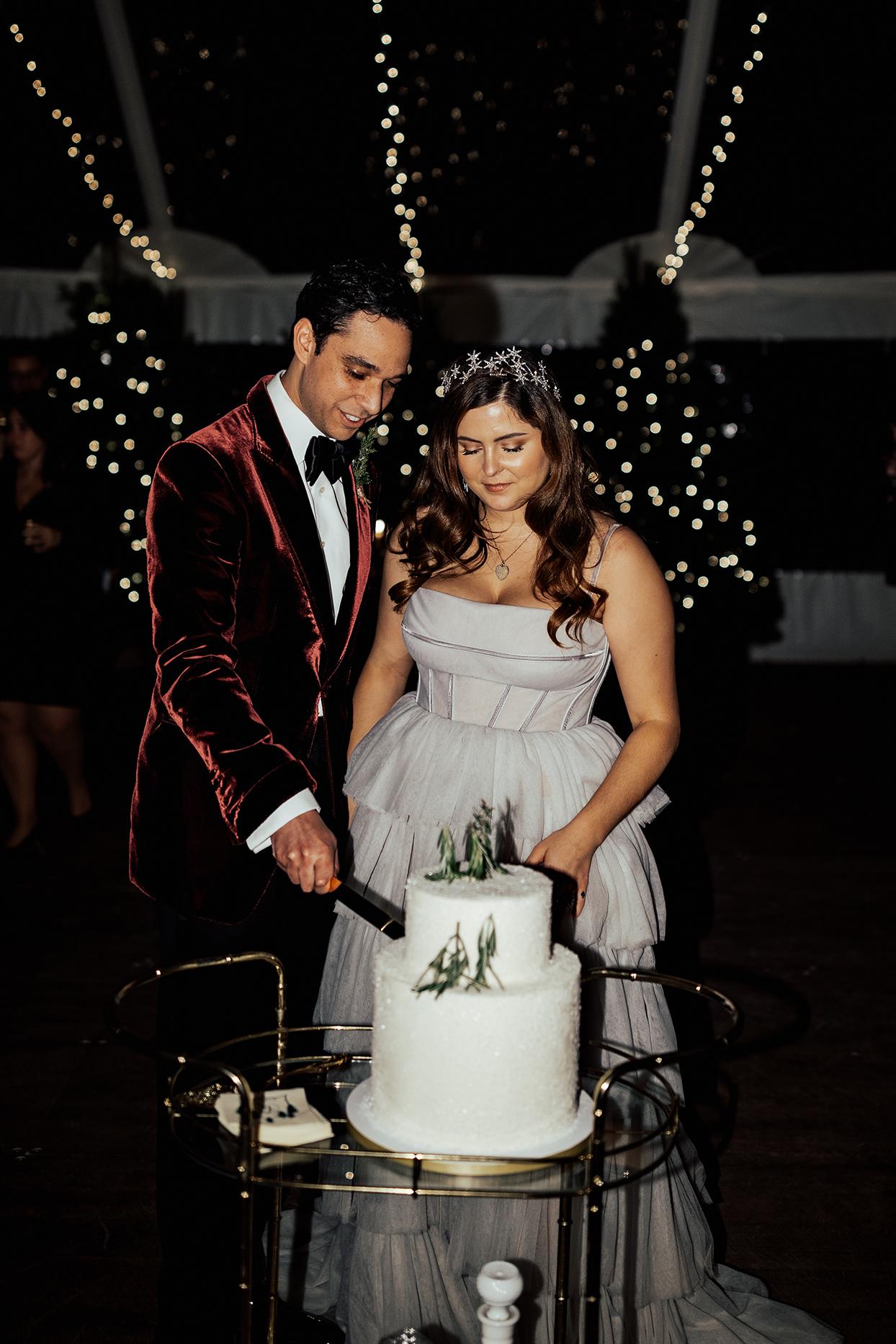 noelle danny cutting wedding cake