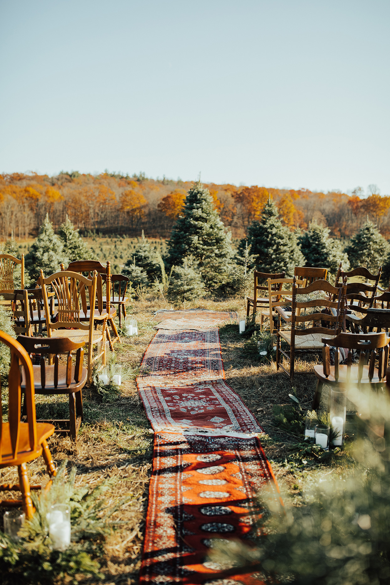 noelle danny wedding ceremony rug aisle and wooden chairs