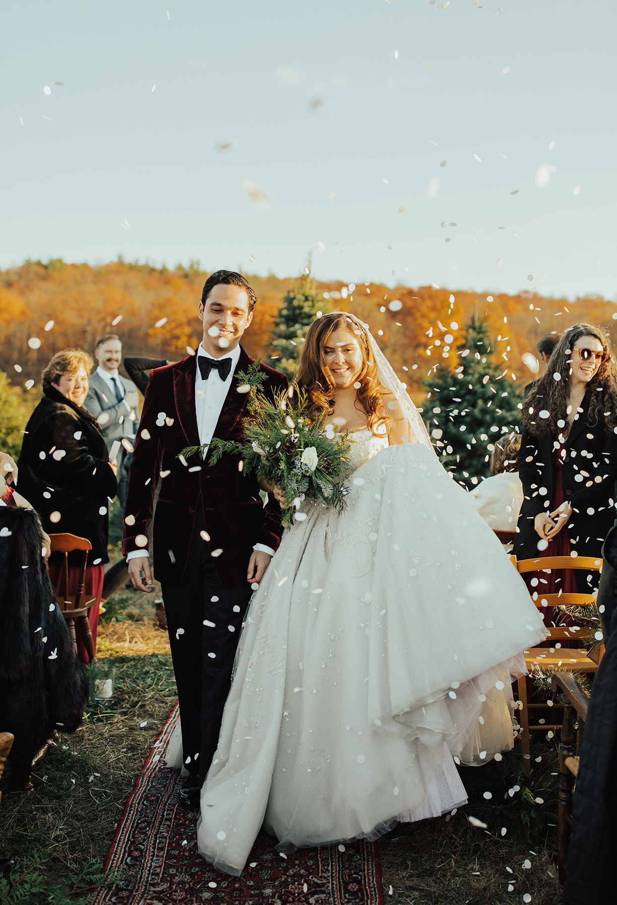 noelle danny wedding exit petals