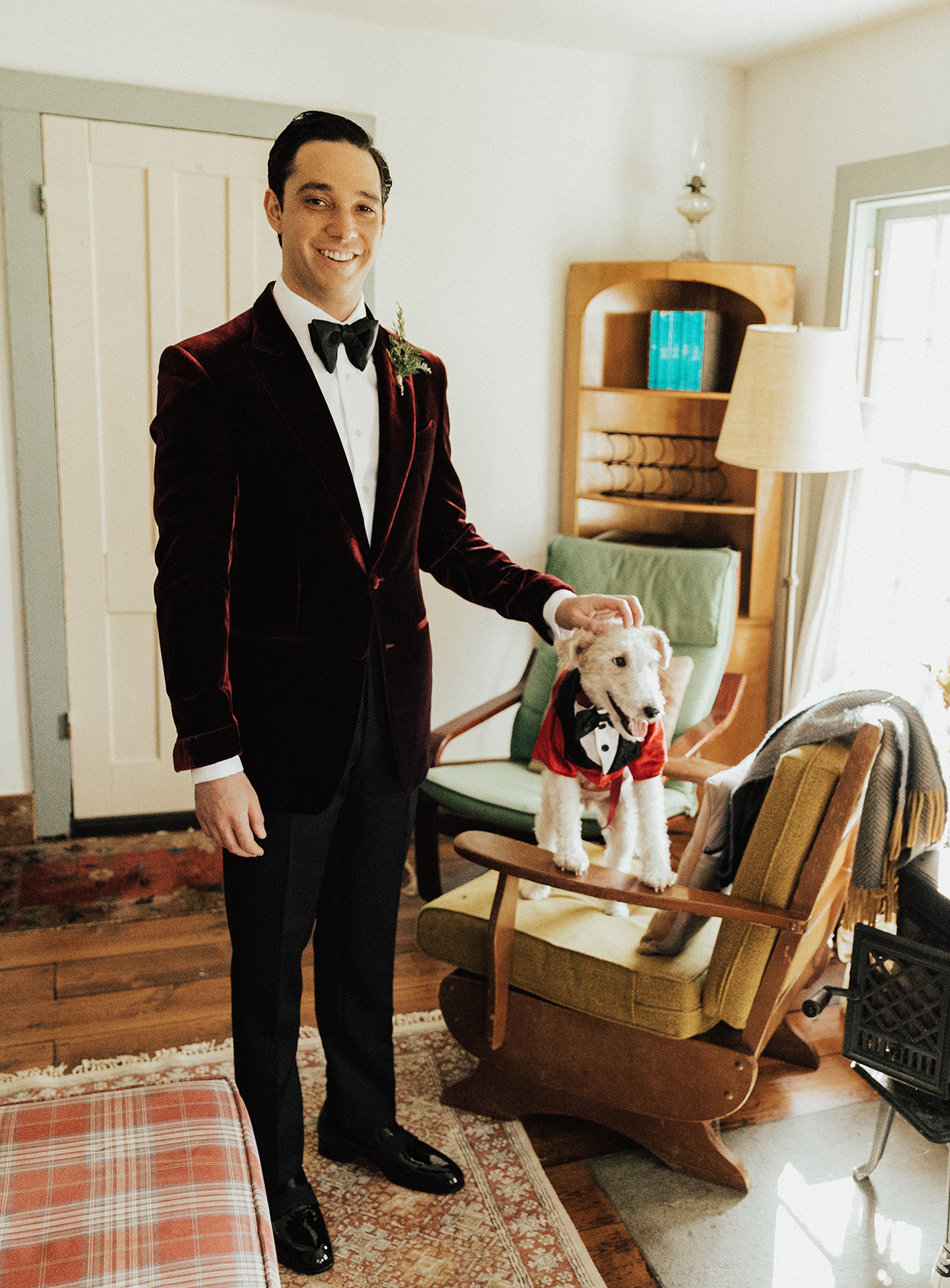 noelle danny wedding groom in red velvet with dog