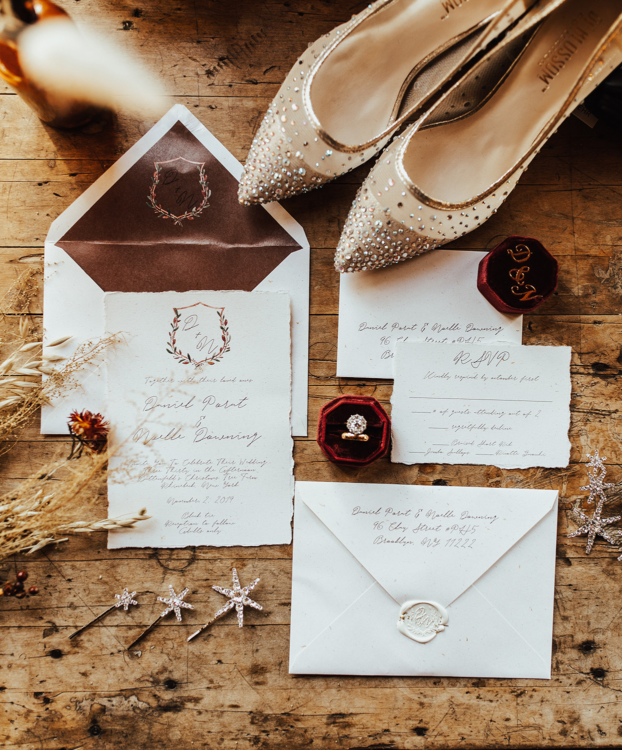 noelle danny wedding rustic invitations