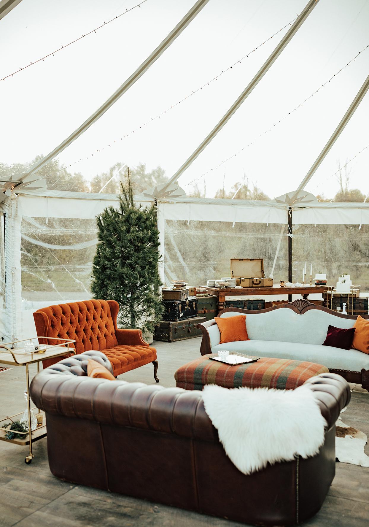 noelle danny wedding cozy lounge in tent